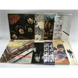 A collection of 10 Beatles and related LPs, condition varies from poor to good.