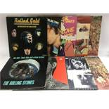Nine Rolling Stones LPs comprising 'Tattoo You', 'Black And Blue', 'Emotional Rescue' and others.