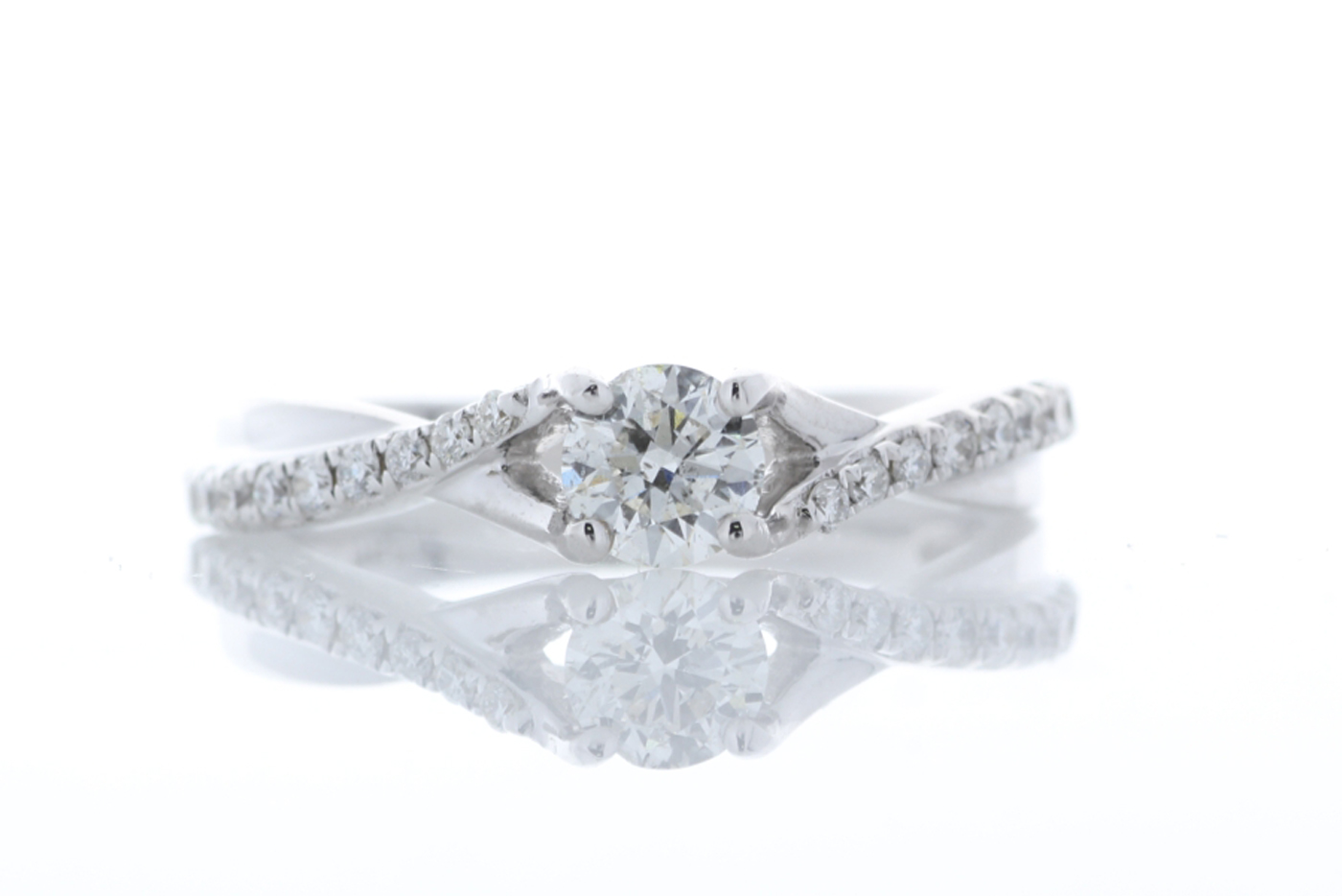 Lot 23 - 18k White Gold Single Stone Claw Set With Stone Set Shoulders Diamond Ring 0.50 (0.35)