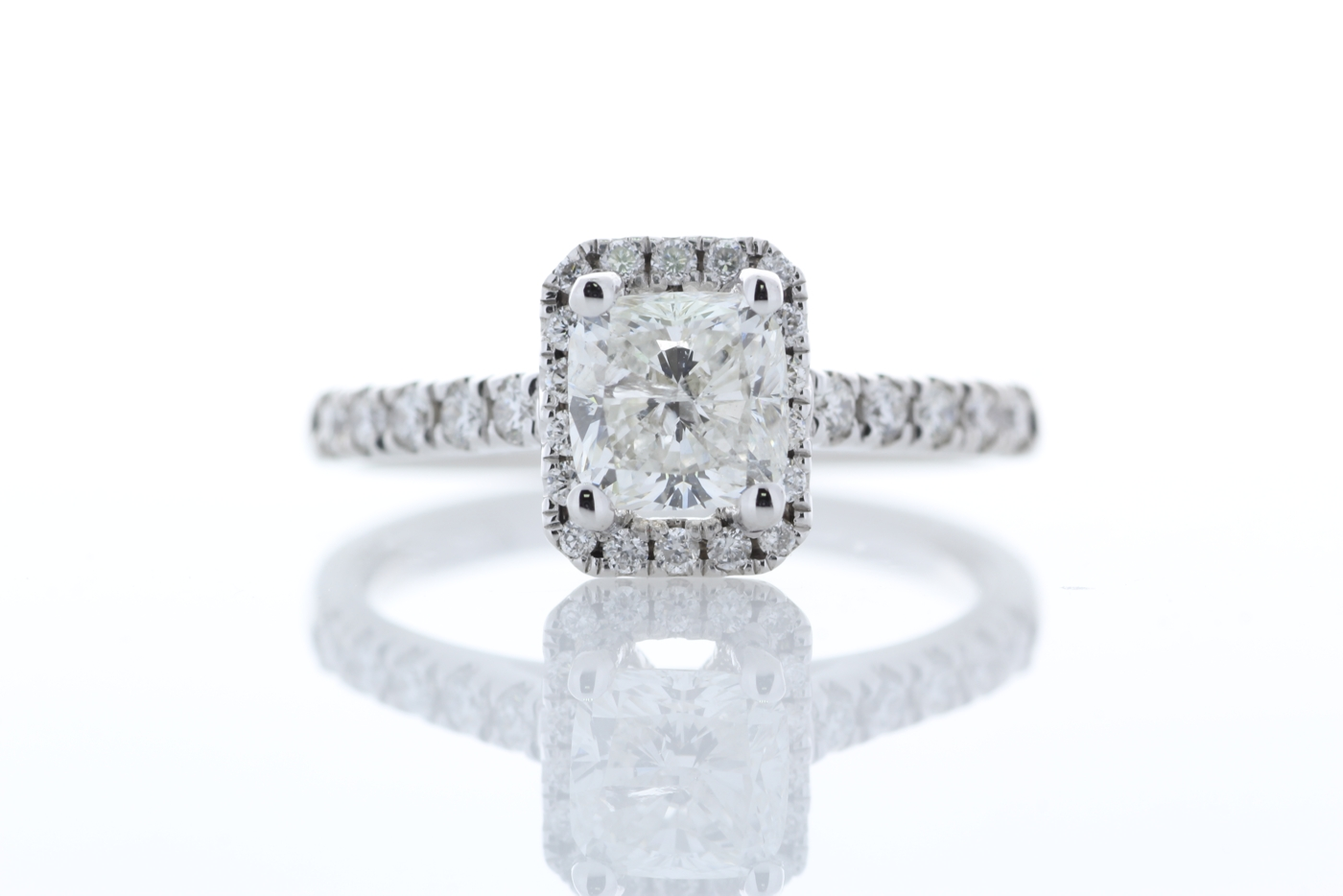 Lot 34 - 18k White Gold Single Stone Radiant Cut  With Halo Stone Set Shoulders Diamond Ring (1.01) 1.32