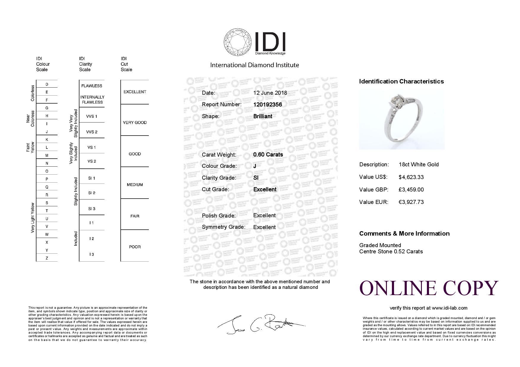Lot 27 - 18k White Gold Single Stone Prong Set With Stone Set Shoulders Diamond Ring 0.60