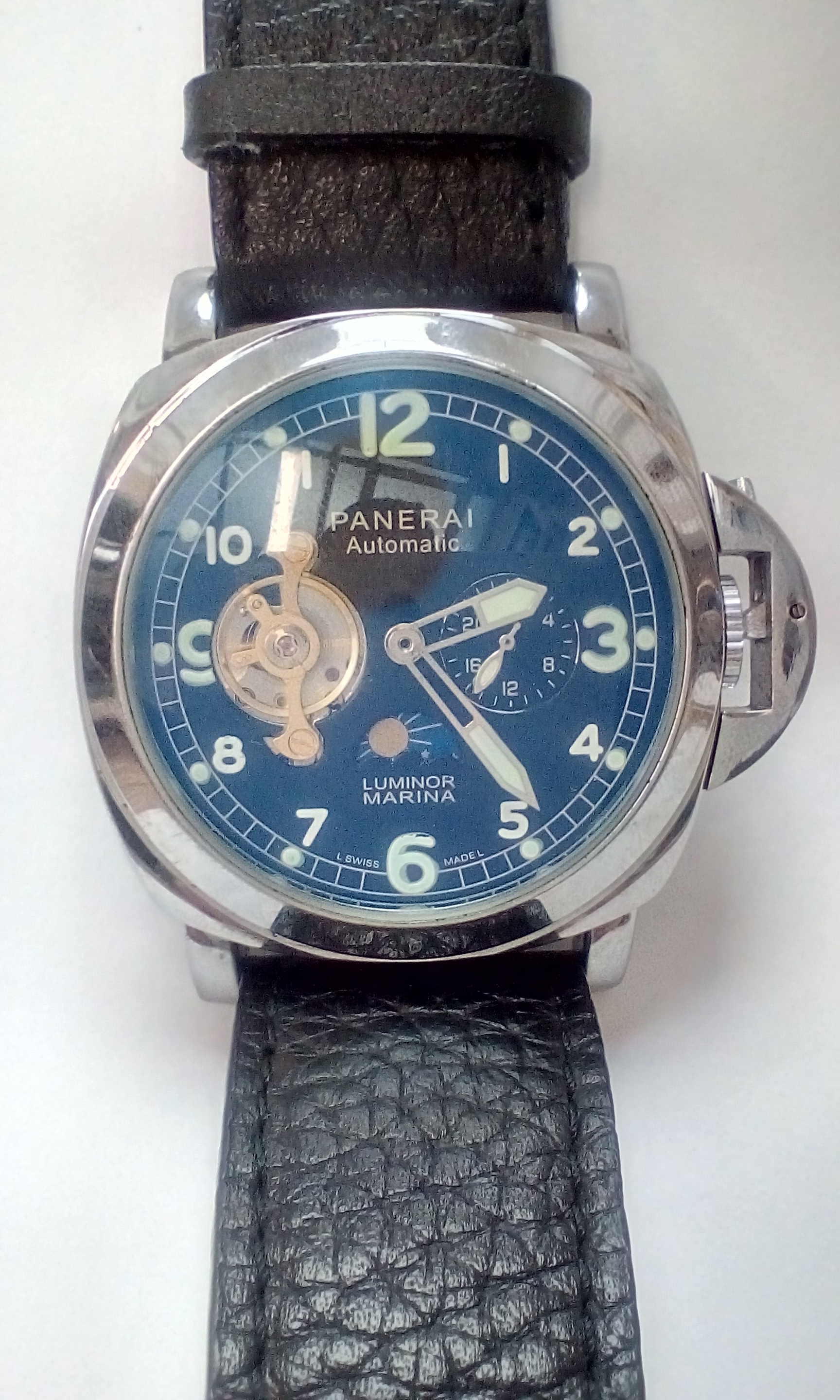 Lot 196 - Panerai Luminor Marina replica wristwatch, very go