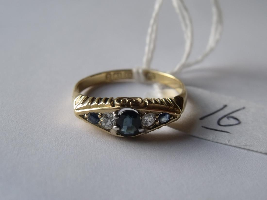 Lot 16 - Good 18ct gold sapphire & diamond boat shaped ring approx size 'O'