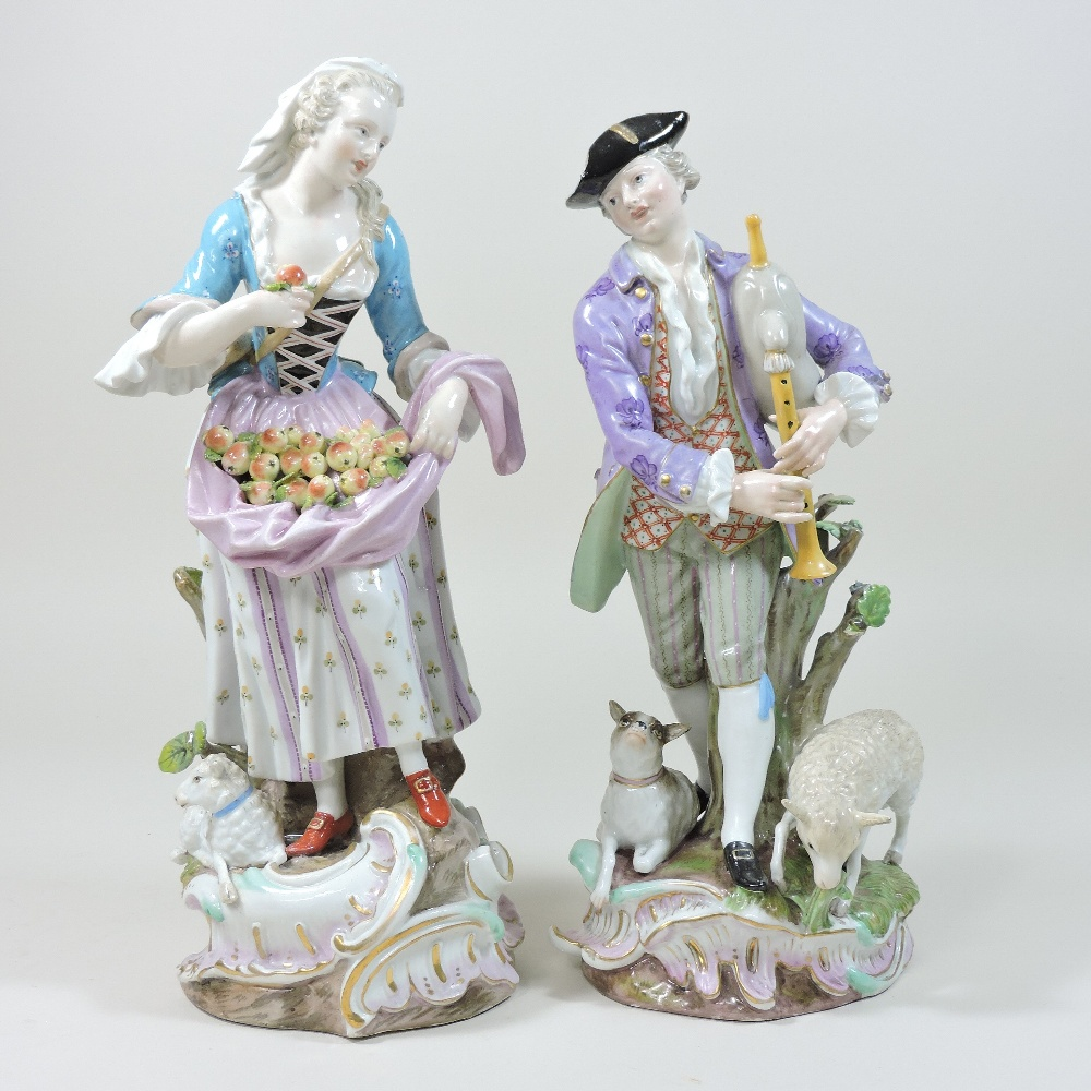Lot 42 - A pair of 19th century Meissen porcelain figures, of a shepherd and shepherdess,