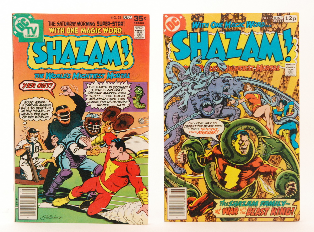 Lot 710 - Two Shazam comics, No 32 Dec 1977 and No 35 June 1978 price 12p.