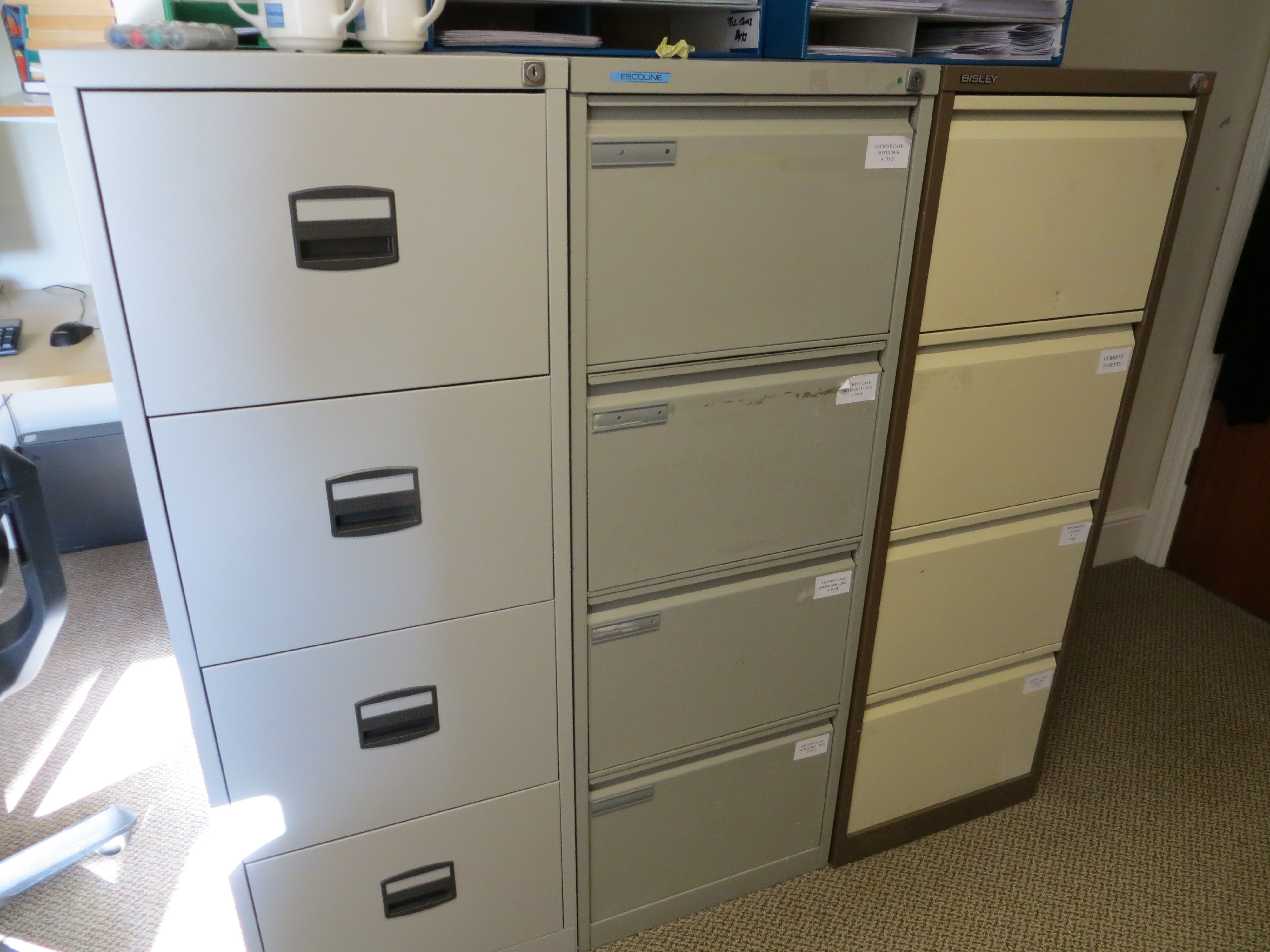 Lot 366 - Contents of office to include four desks, two pedestals, three swivel & tilt chairs, three 4