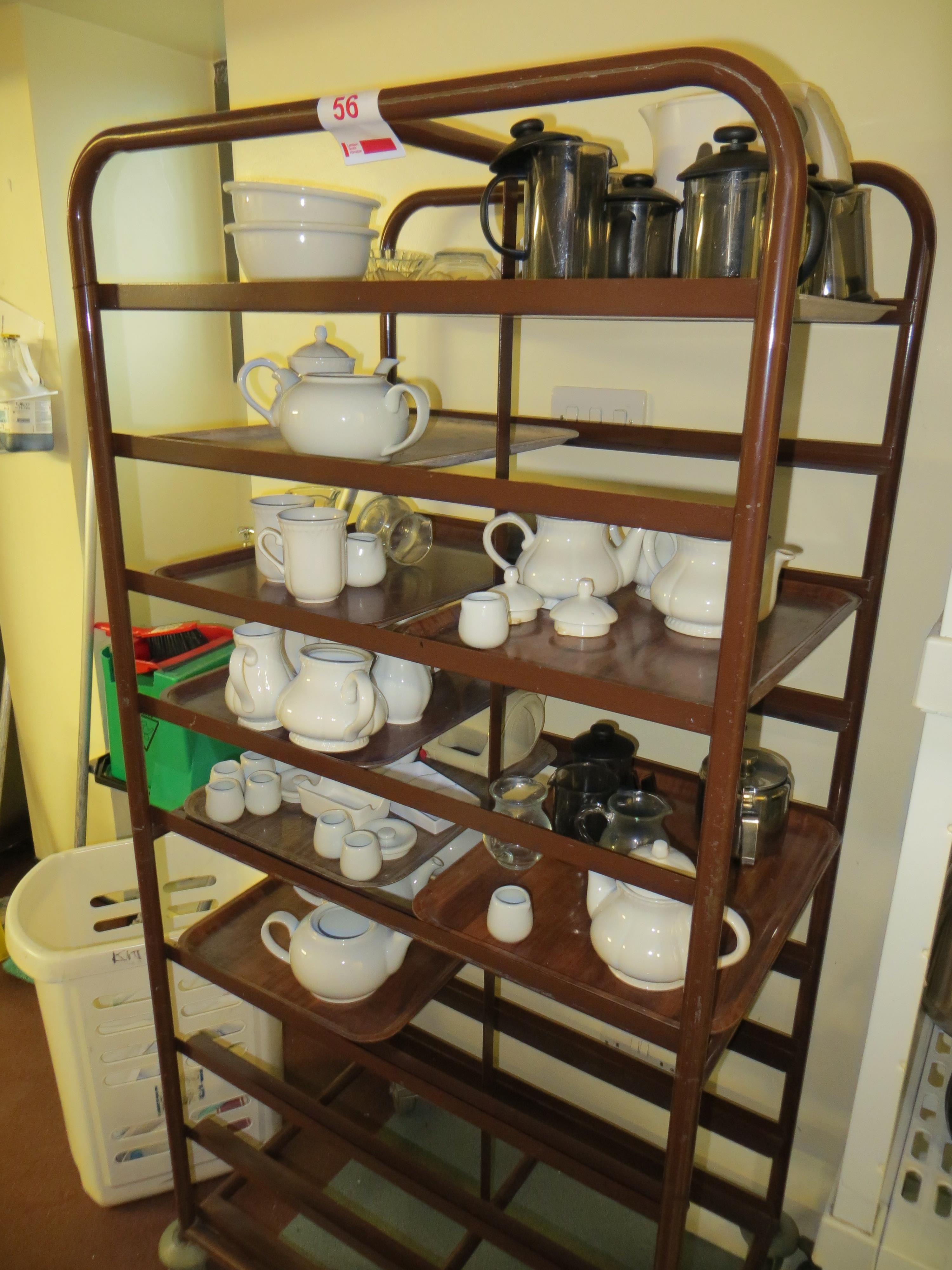 mobile tray unit and contents to include tea pots, cafetier & milk jugs