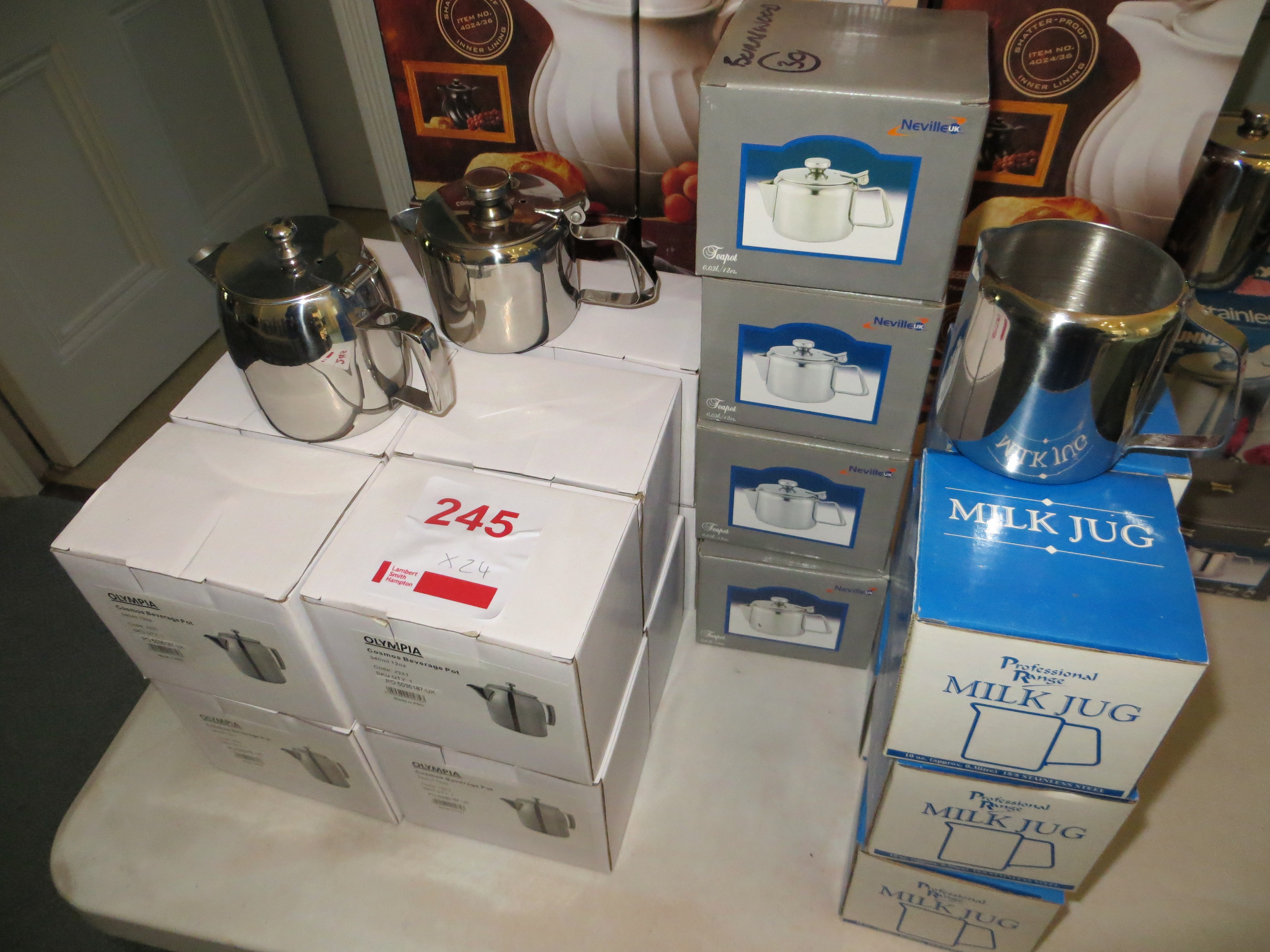 Lot 245 - Twelve Olynpia Cosmos stainless steel Beverage pots (boxed) four Meville 12 oz stainless steel