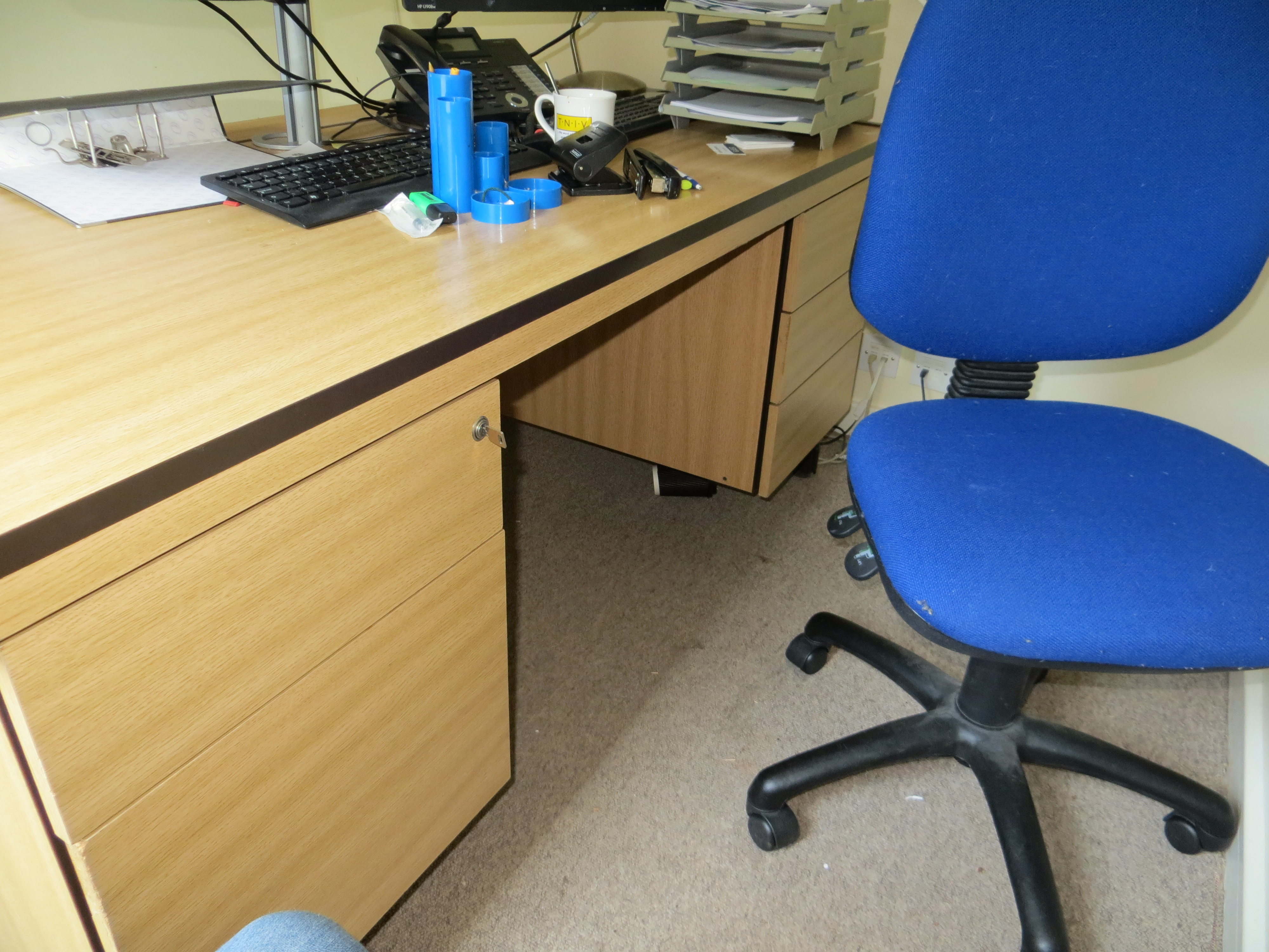 Lot 322 - Contents of three offices on the 2nd floor to include three desks, four pedestals, round meeting