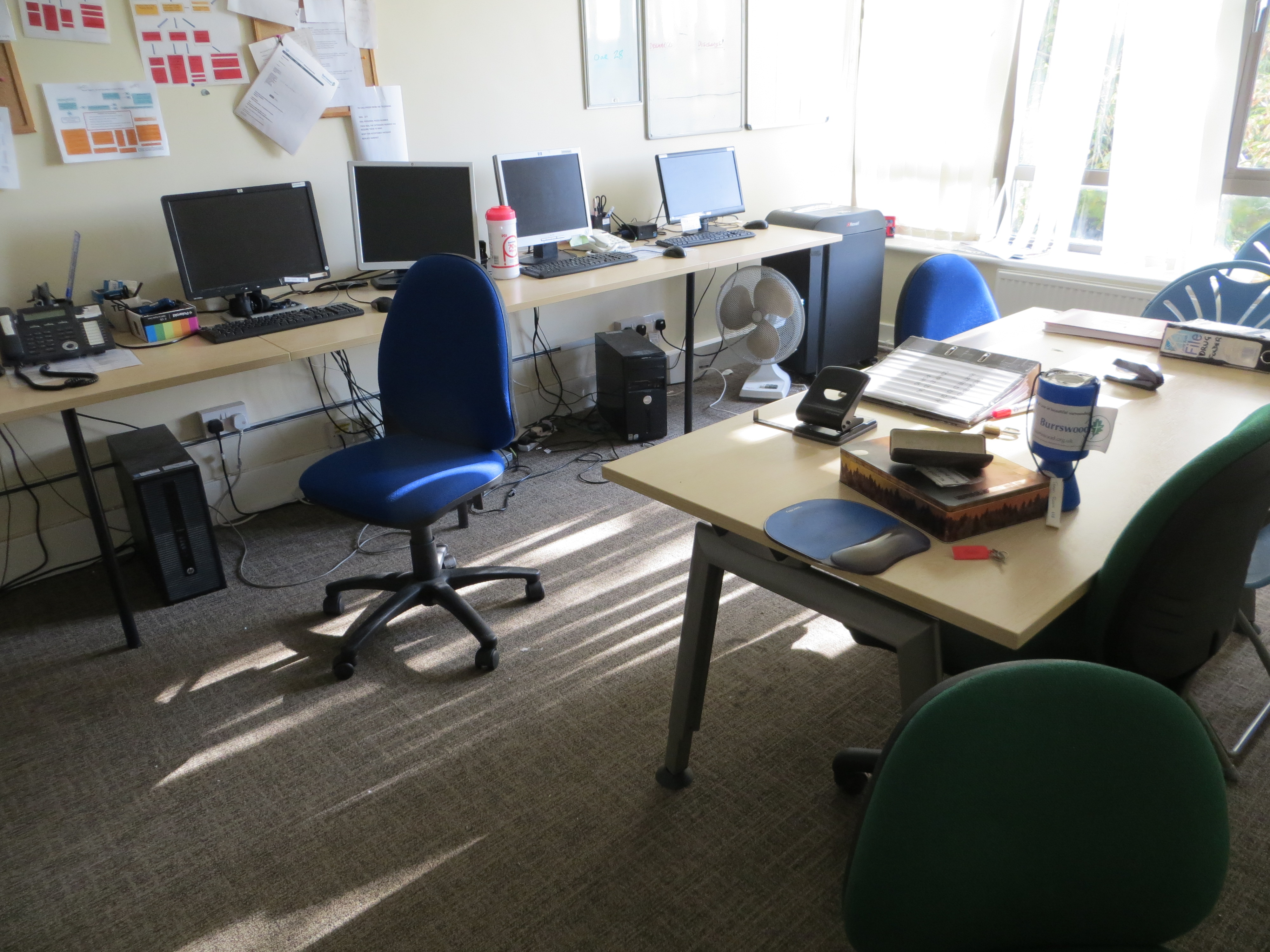 Lot 325 - Contents of office to include three light oak veneer section wall mounted tables, four swivel & tilt