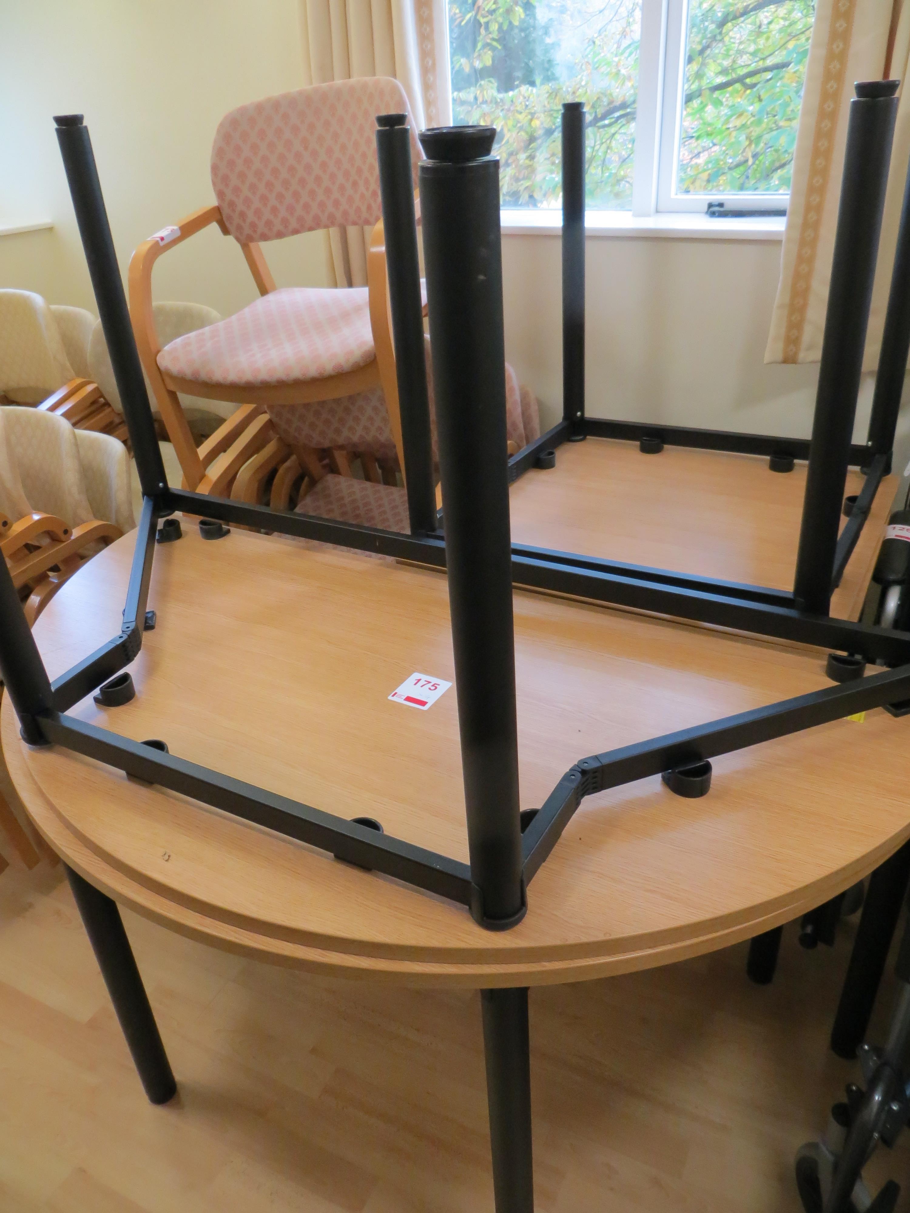 Lot 175 - Two metal frame light oak veneer semi circular meeting tables 1500mm 750mm and two metal frame light