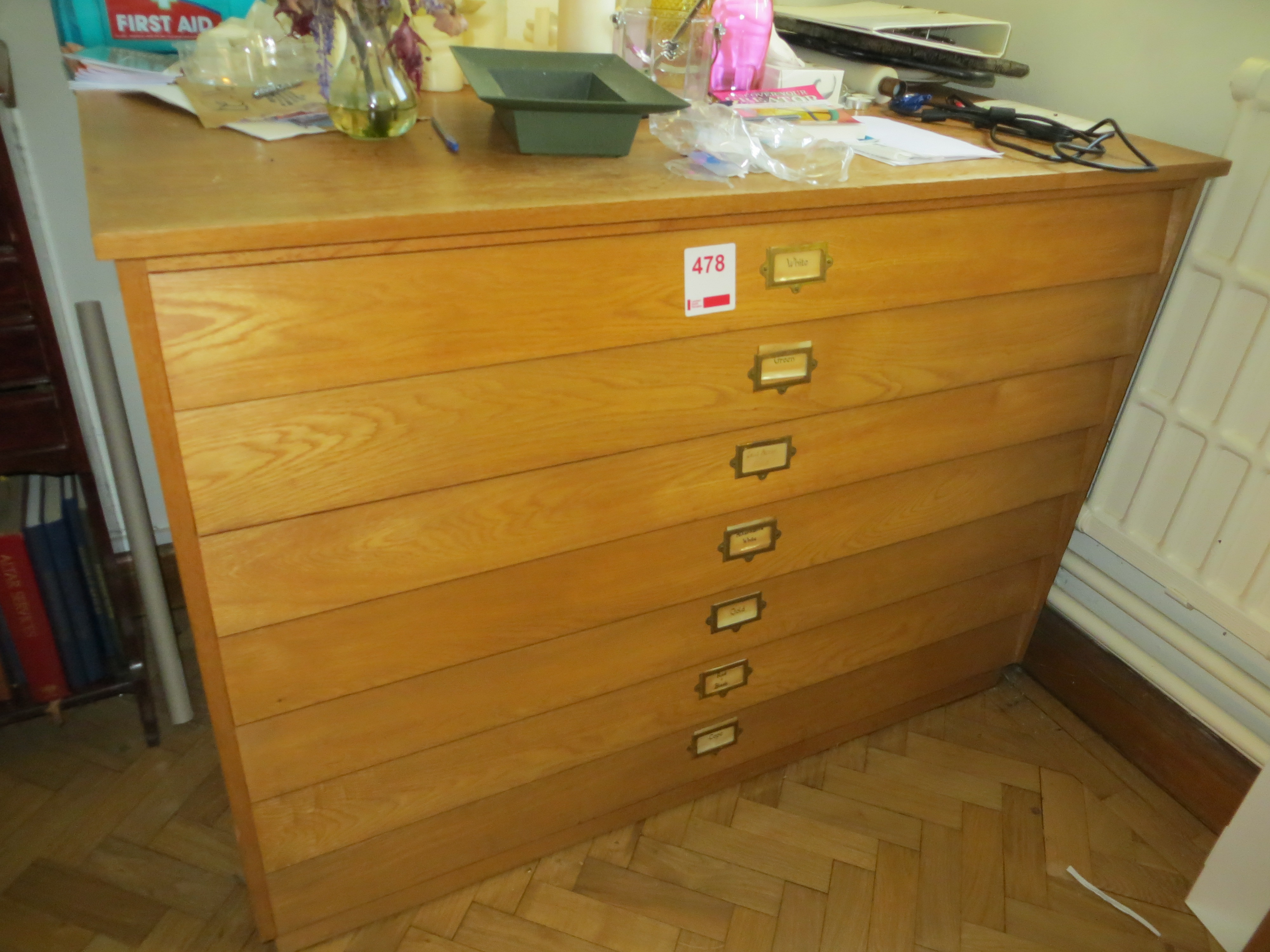 Lot 478 - Wooden 7 drawer plans chest