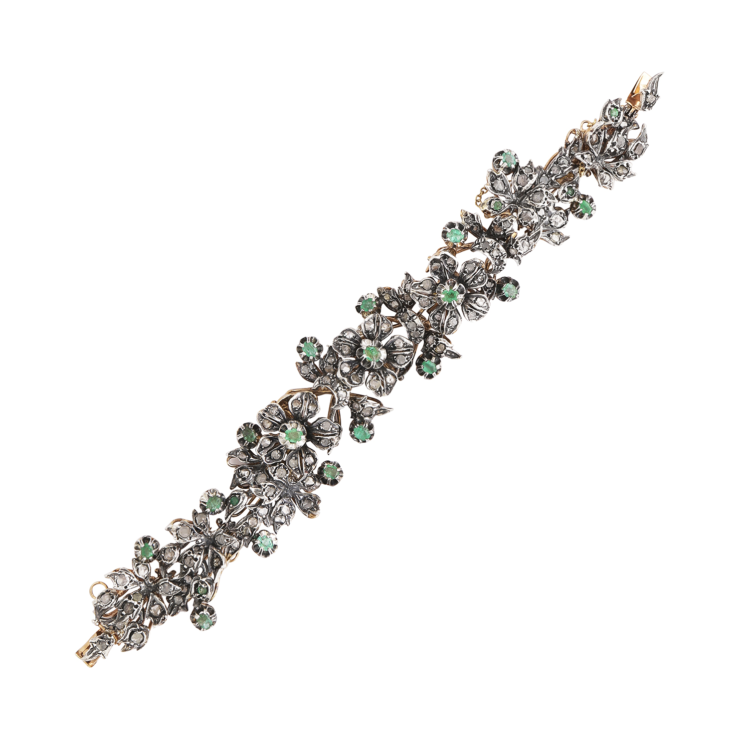 Los 43 - AN ANTIQUE EMERALD AND DIAMOND BRACELET, EARLY 19TH CENTURY in yellow gold and silver, the