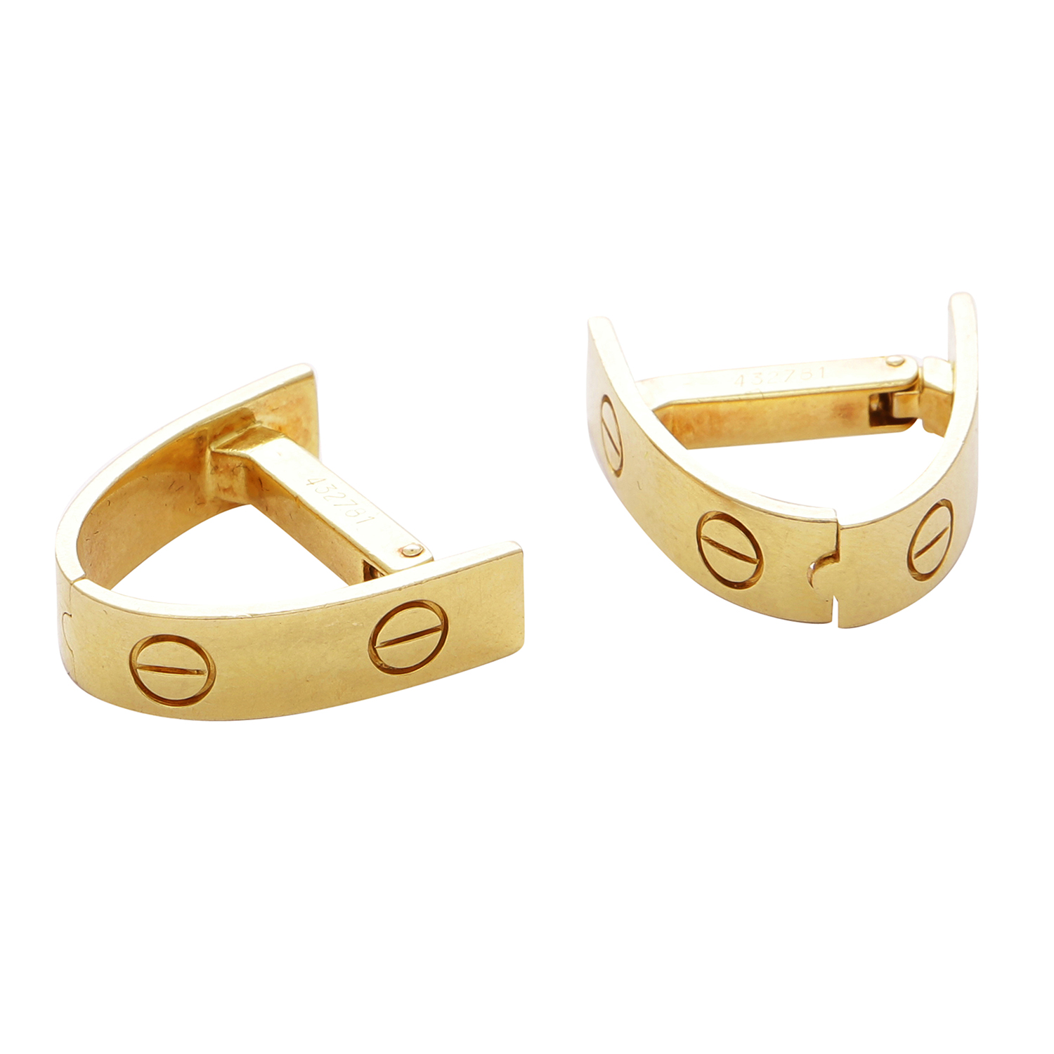 A PAIR OF LOVE CUFFLINKS BY CARTIER in 18ct yellow gold, with screw head designs, signed Cartier and