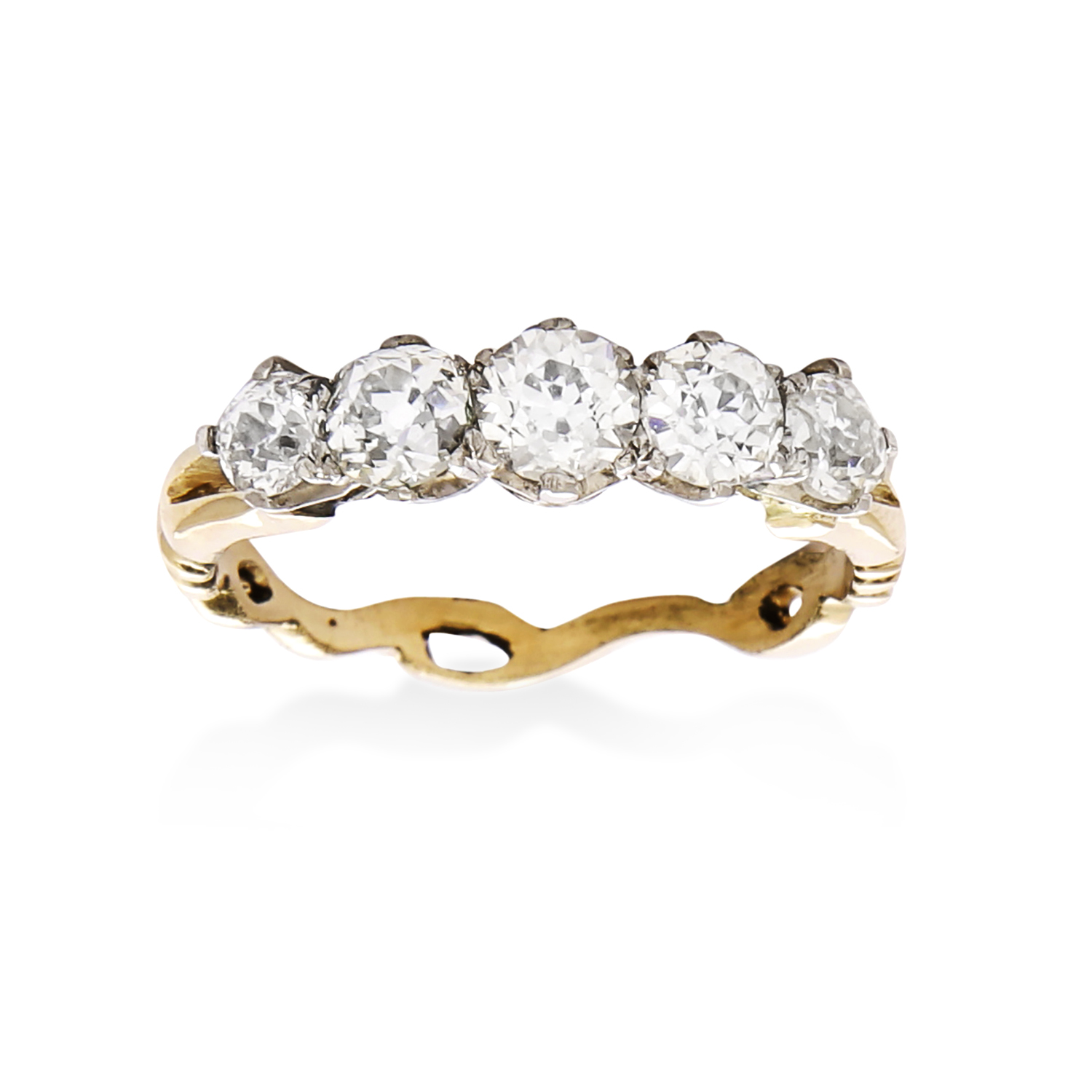 Los 9 - A 1.60 CARAT DIAMOND FIVE STONE RING in high carat yellow and white gold, set with a graduated row