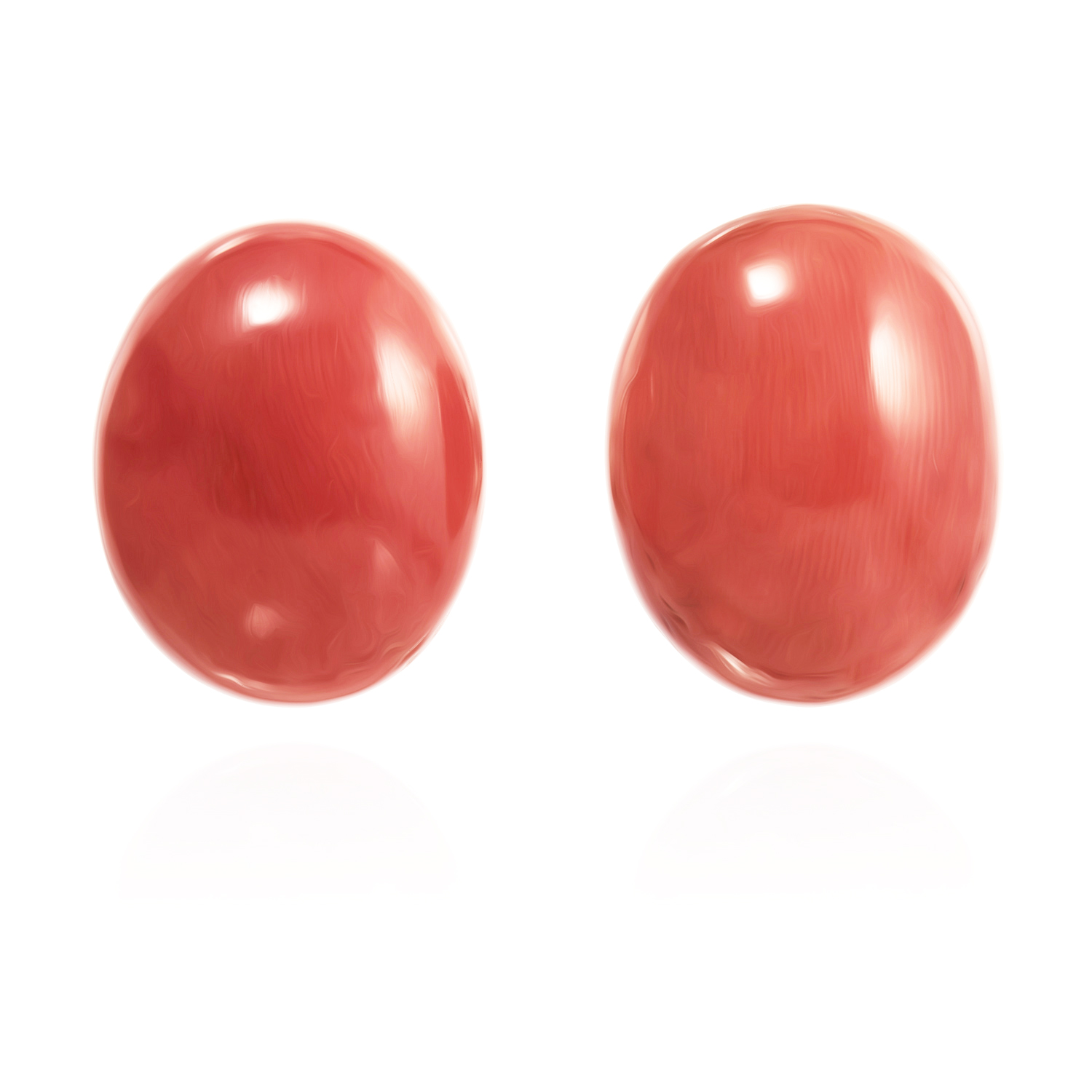 Los 20 - A PAIR OF CORAL BEAD CLIP EARRINGS each set with a large polished coral bead of 20.7mm and 19.6mm,