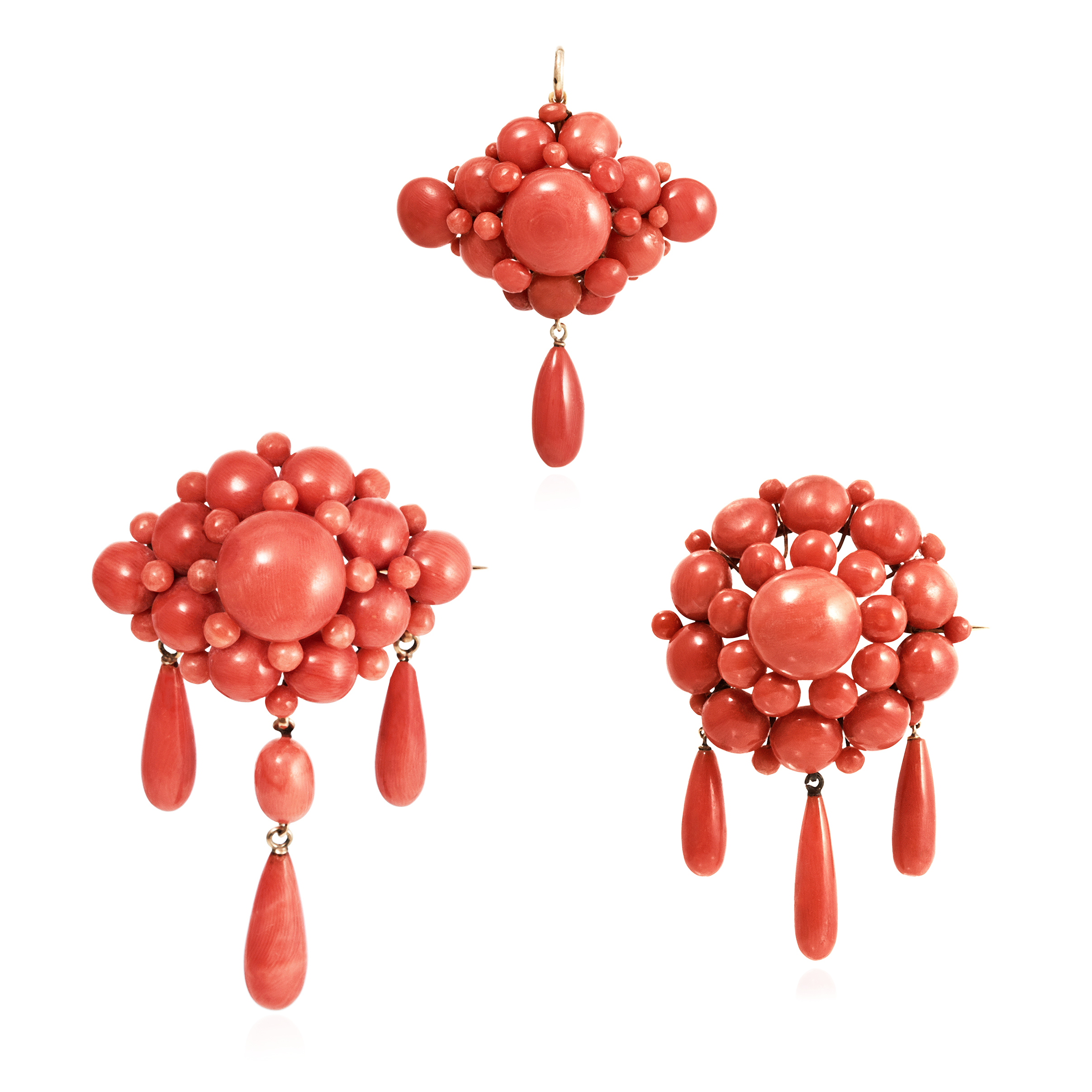 Los 17 - THREE ANTIQUE CORAL BROOCHES, ITALIAN CIRCA 1860 each designed as a cluster of coral beads