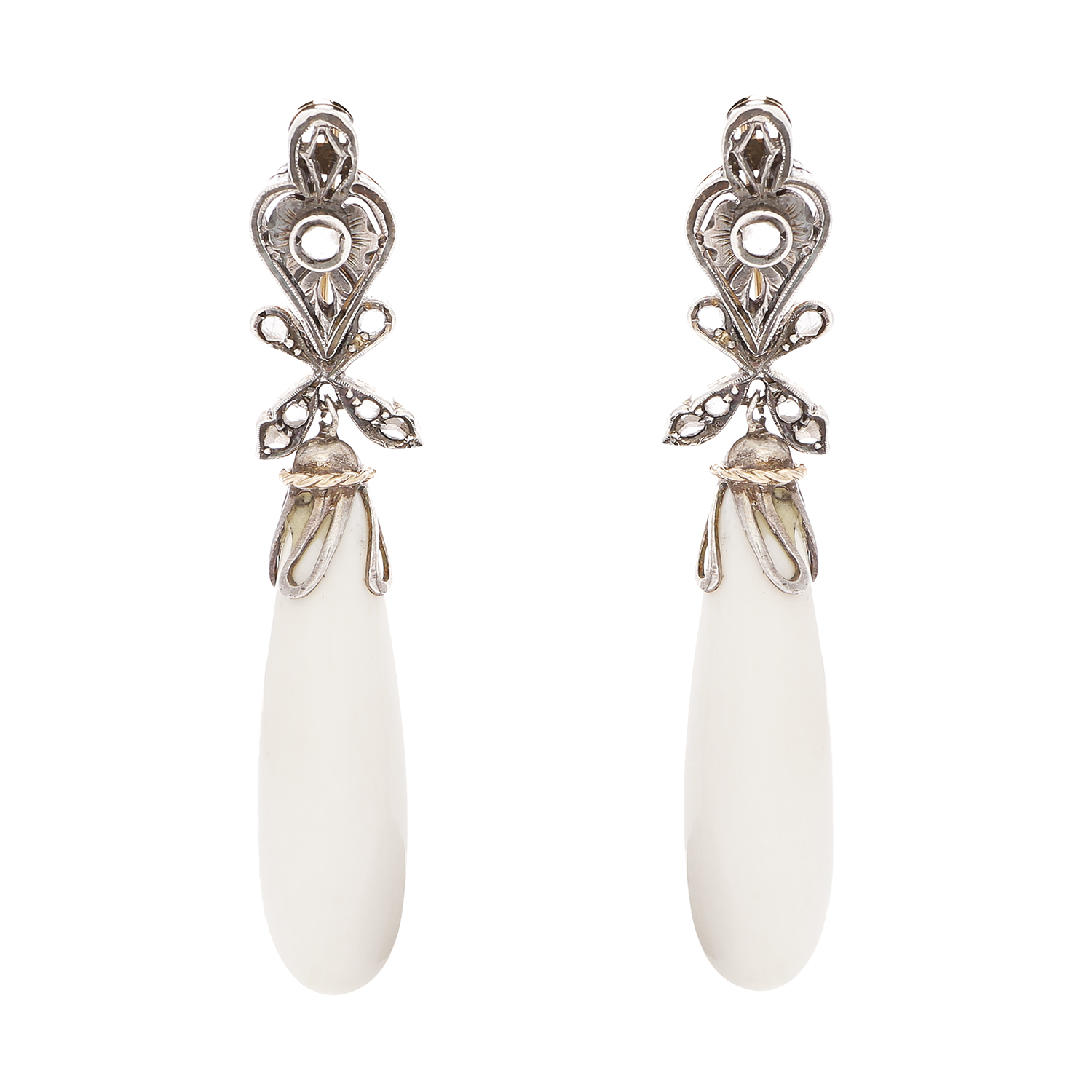 A PAIR OF ANTIQUE WHITE CORAL AND DIAMOND EARRINGS in yellow gold and silver, the polished white