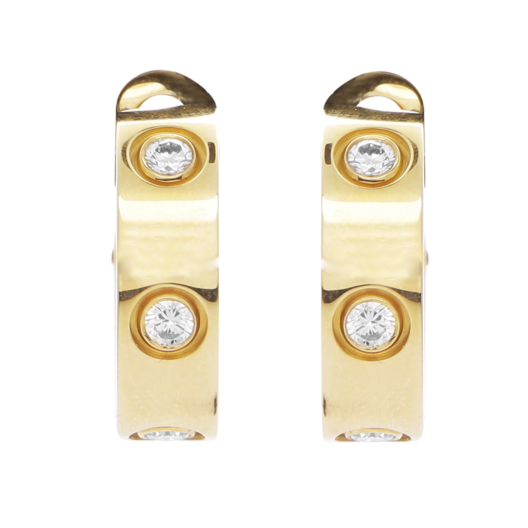 Los 50 - A PAIR DIAMOND LOVE EARRINGS, CARTIER in 18ct gold each jewelled with three round cut diamond, box