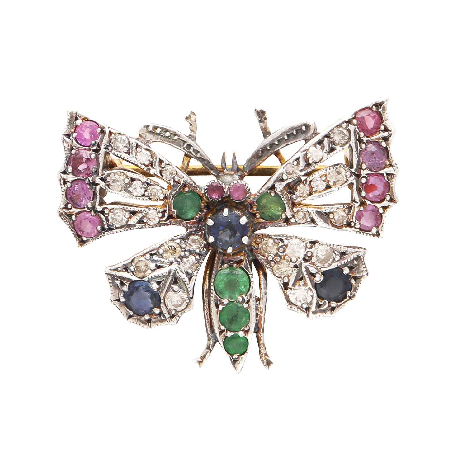 Los 27 - A RUBY, EMERALD, SAPPHIRE AND DIAMOND BUTTERFLY BROOCH in yellow gold and silver designed as a