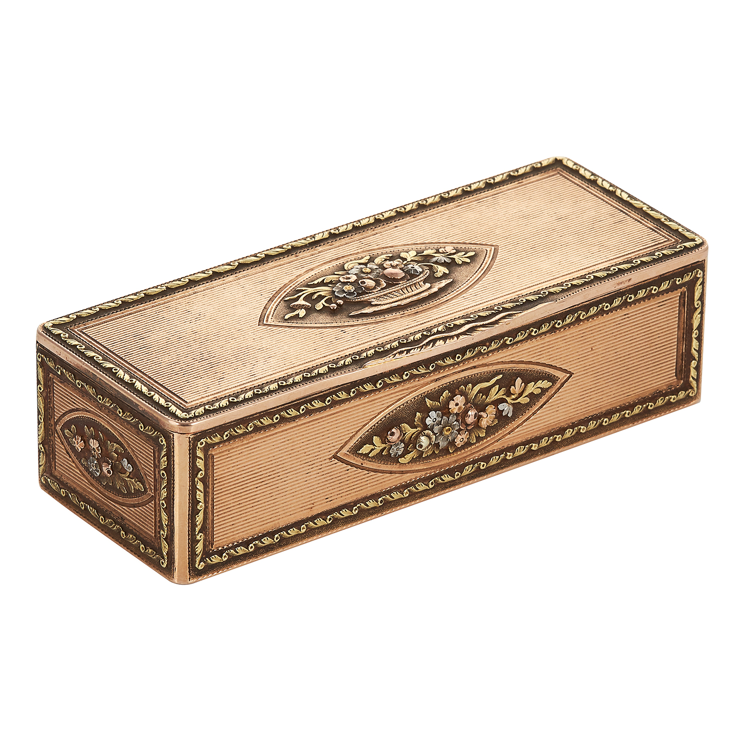 AN ANTIQUE GOLD SNUFF / TOBACCO BOX, FRENCH EARLY 19TH CENTURY in high carat gold, rectangular
