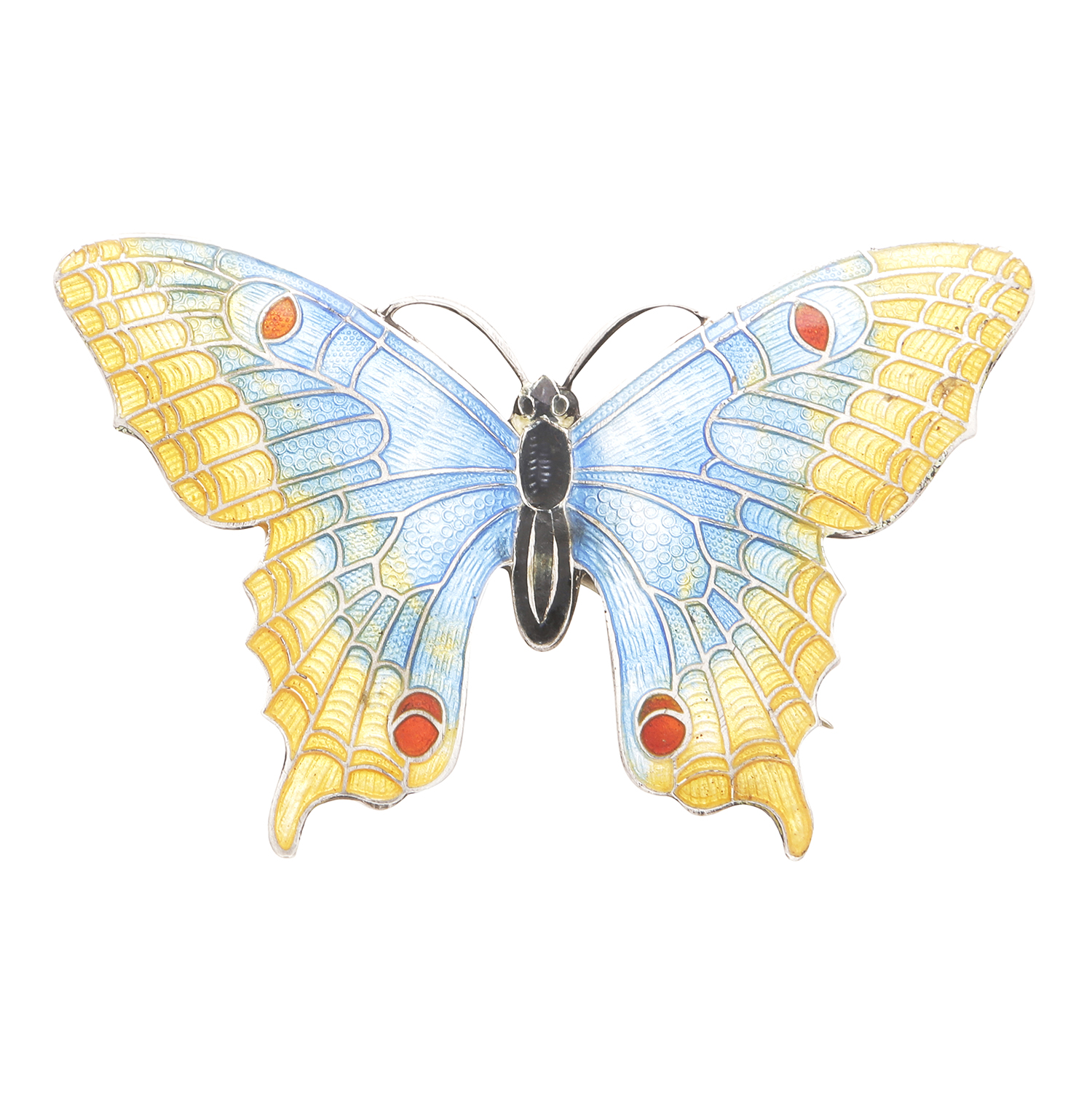 Los 13 - AN ANTIQUE ENAMELLED BUTTERFLY BROOCH, EARLY 20TH CENTURY in silver, designed as a butterfly, its