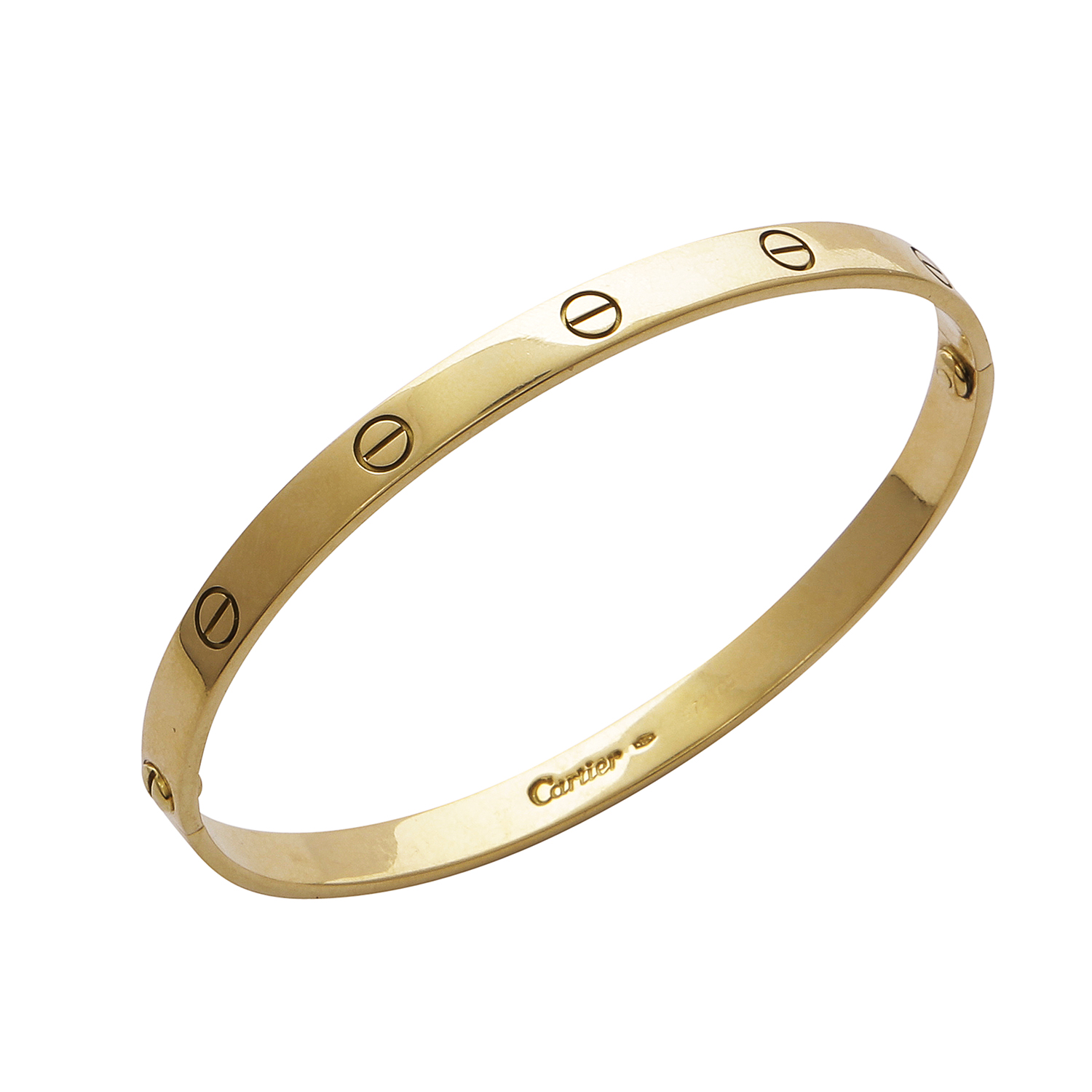 Los 49 - A LOVE BANGLE, CARTIER in 18ct yellow gold, the oval bangle punctuated with screw head motifs,