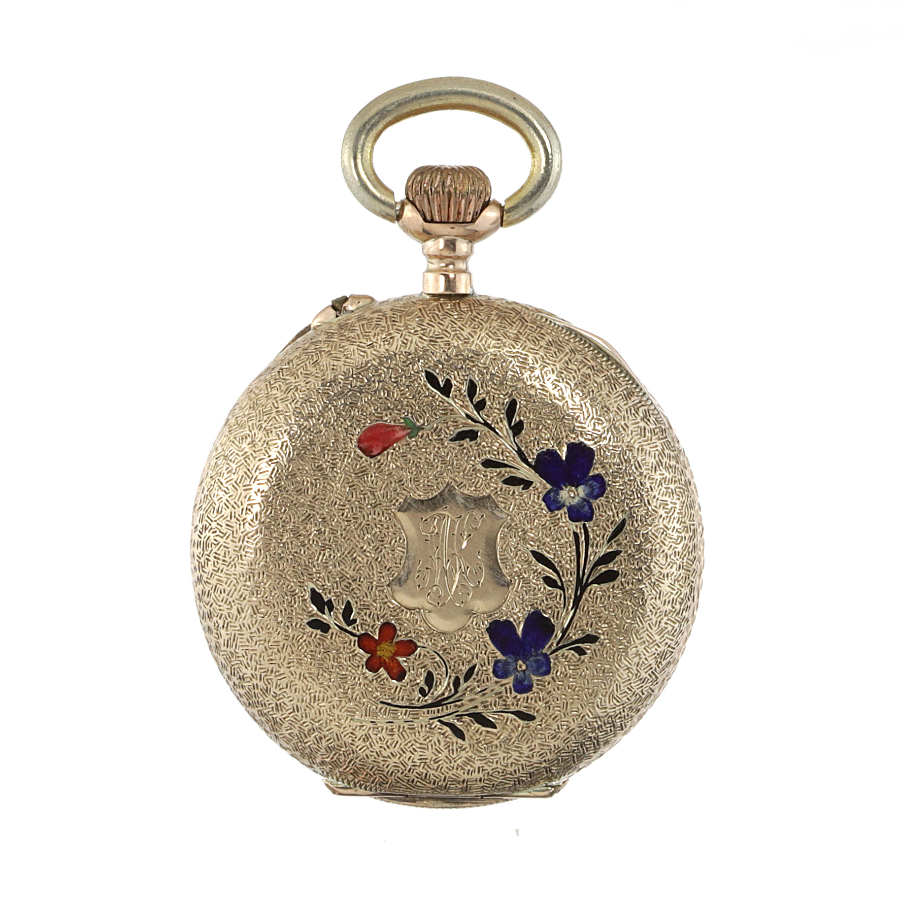 Los 456 - AN ENAMEL POCKET WATCH the circular case decorated with textured engraving and varicoloured enamel