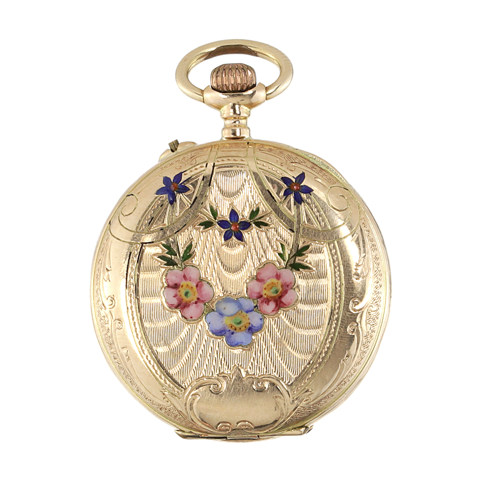 Los 458 - AN ENAMEL POCKET WATCH in high carat yellow gold, the circular case with engraved foliate