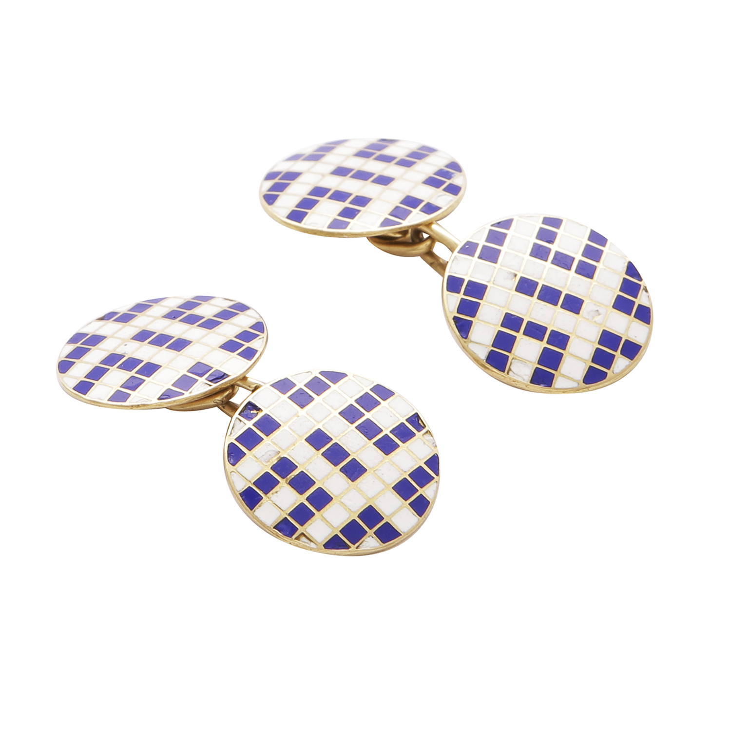 Los 57 - A PAIR OF VINTAGE ENAMELLED CUFFLINKS in 18ct yellow gold, each formed of two circular links with