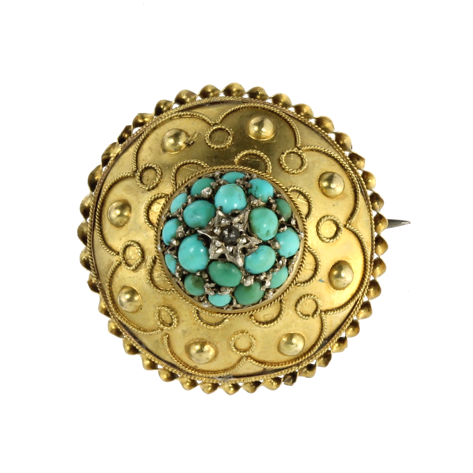 Los 22 - AN ANTIQUE TURQUOISE AND DIAMOND MOURNING BROOCH in 15ct yellow gold, of circular form, set with a