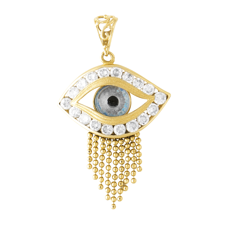 Los 26 - A SEEING EYE TASSEL PENDANT in high carat yellow gold, the jewelled seeing eye motif suspending