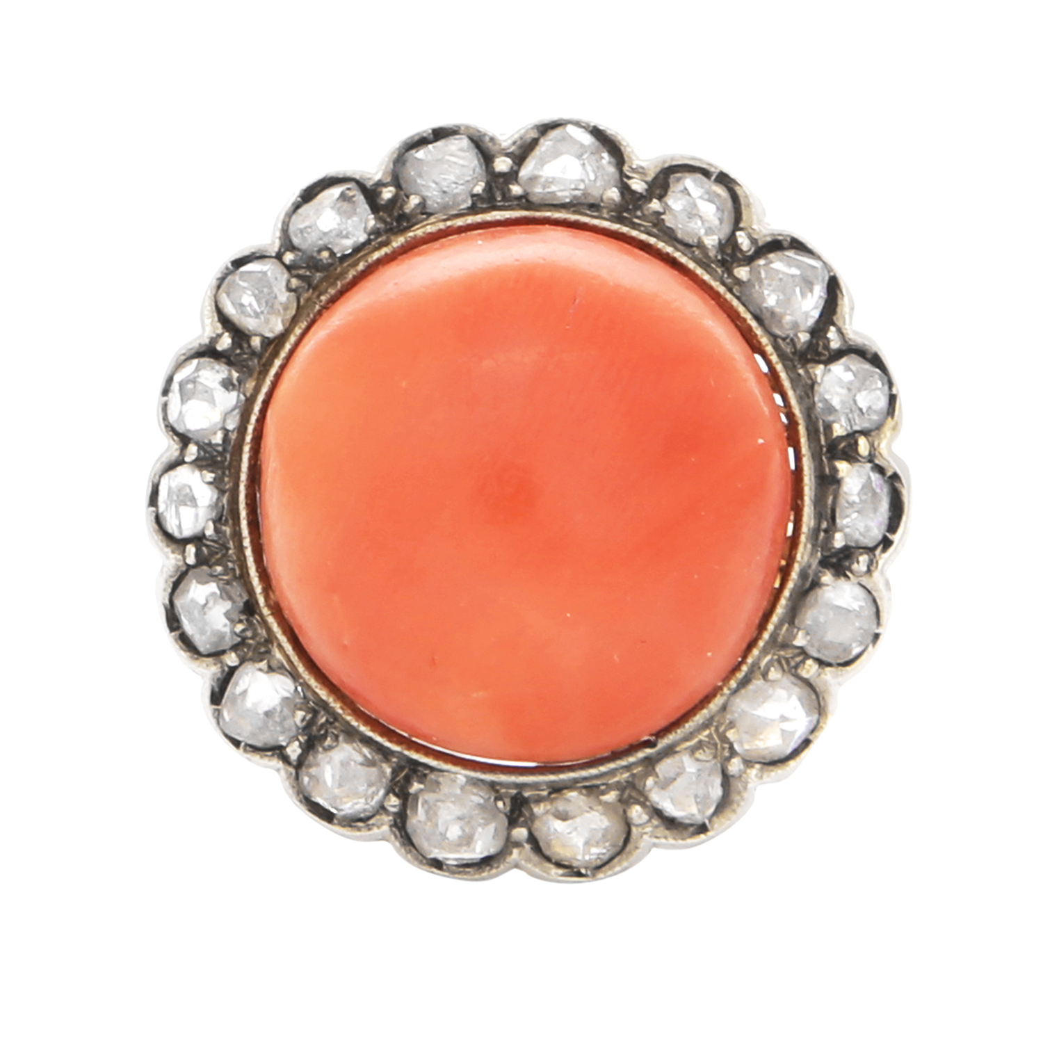 Los 46 - A CORAL AND DIAMOND DRESS RING, 19TH CENTURY in yellow gold, set with a central round coral cabochon