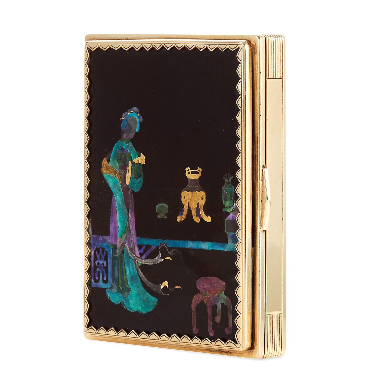 Los 378 - AN ANTIQUE LACQUE BURGAUTÉ CHINOISERIE VANITY CASE, CARTIER CIRCA 1920 in high carat yellow gold,