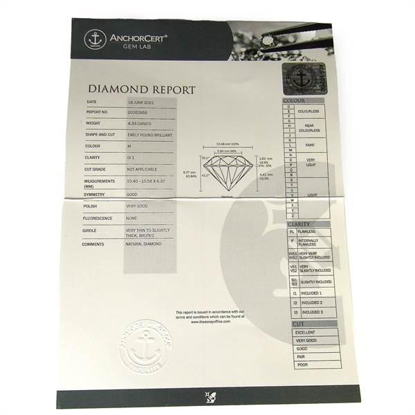 Loose round brilliant cut diamond weighing 4.33 ct. - Image 4