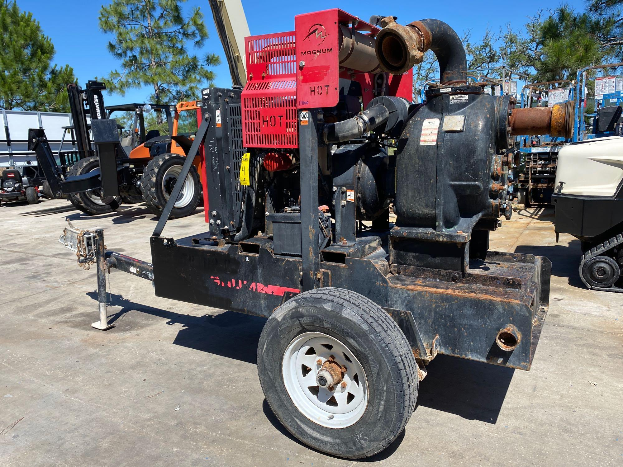 TRAILER MOUNTED MAGNUM 4 INCH DIESEL PUMP, RUNS AND OPERATES - Image 8 of 9