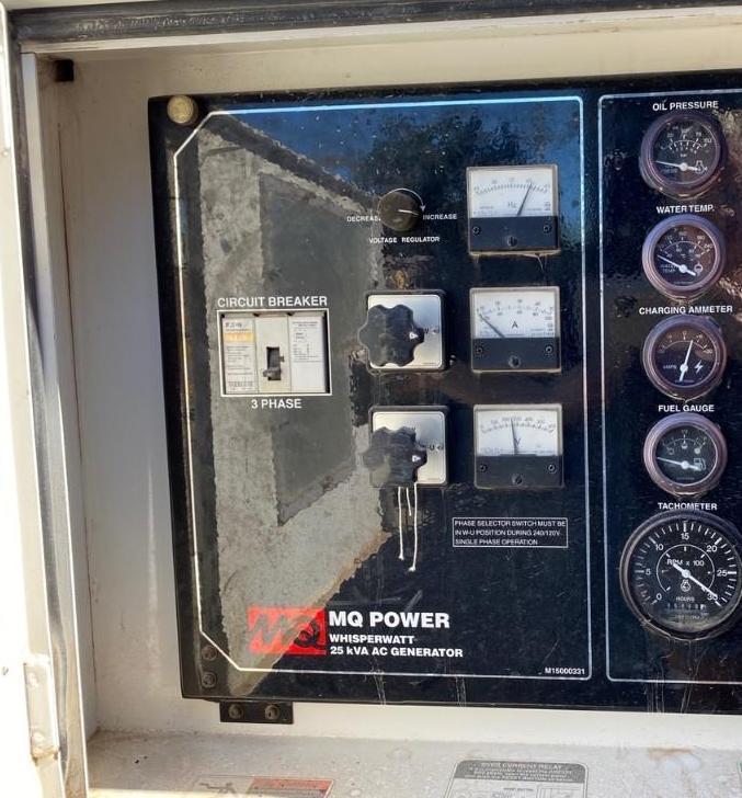 2011/2012 WHISPERWATT MQ POWER DIESEL GENERATOR, TRAILER MOUNTED, 20KW, 25KVA, RUNS AND OPERATES - Image 7 of 20