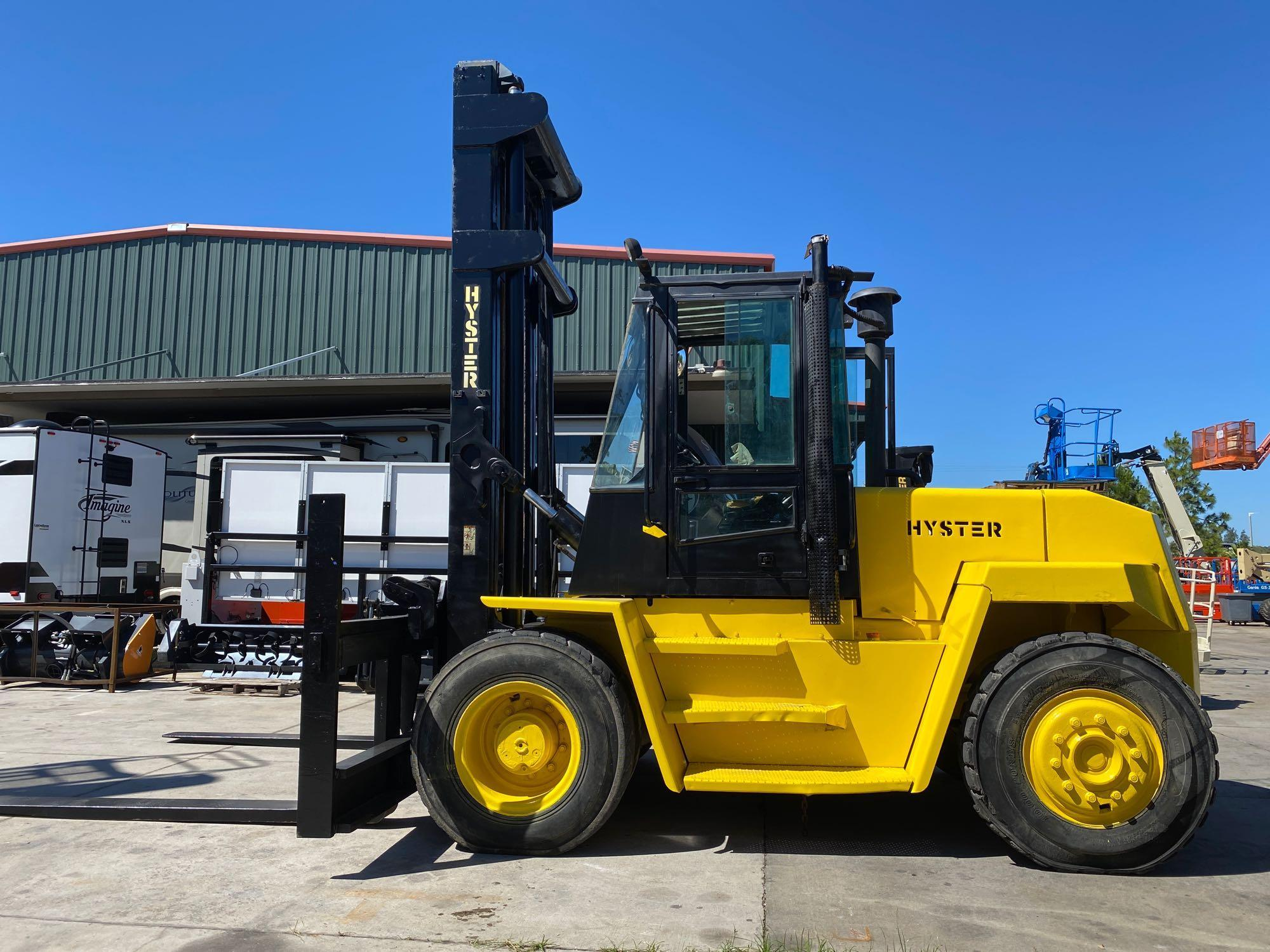 """HYSTER DIESEL FORKLIFT MODEL H190XL2, APPROX. 19,000 LB CAPACITY, 212.6"""" HEIGHT CAPACITY, RUNS AND O - Image 2 of 12"""