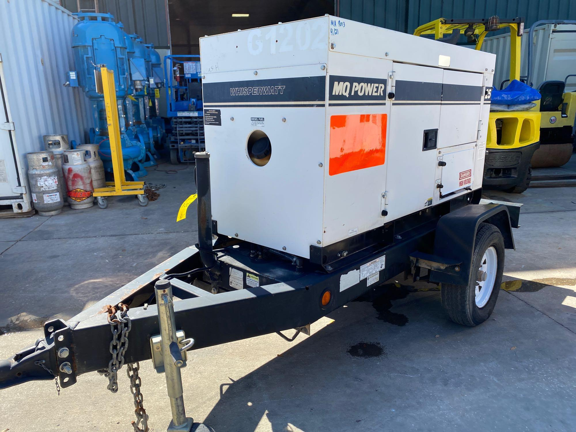 2011/2012 WHISPERWATT MQ POWER DIESEL GENERATOR, TRAILER MOUNTED, 20KW, 25KVA, RUNS AND OPERATES - Image 13 of 19