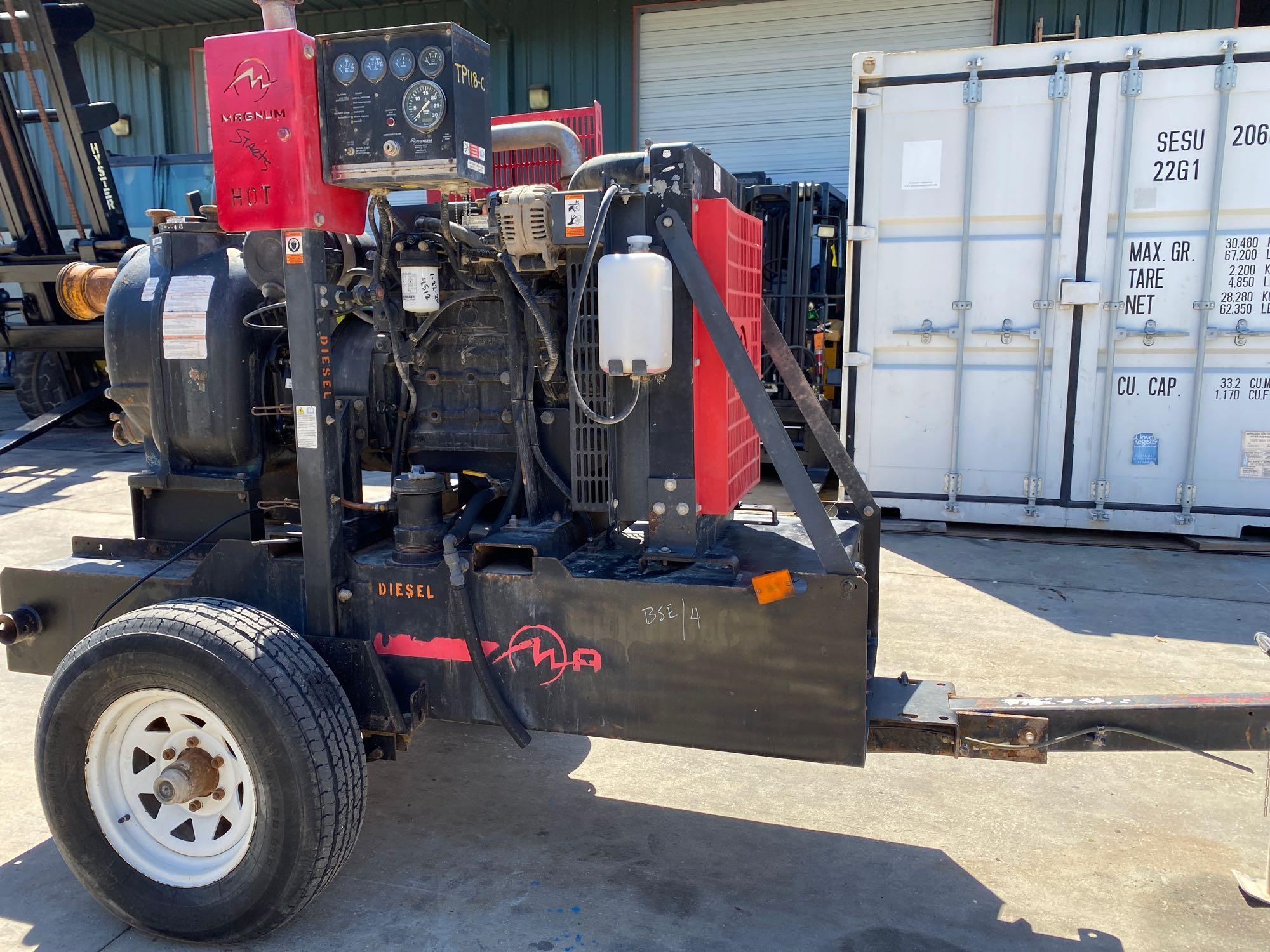 TRAILER MOUNTED MAGNUM 4 INCH DIESEL PUMP, RUNS AND OPERATES - Image 4 of 9