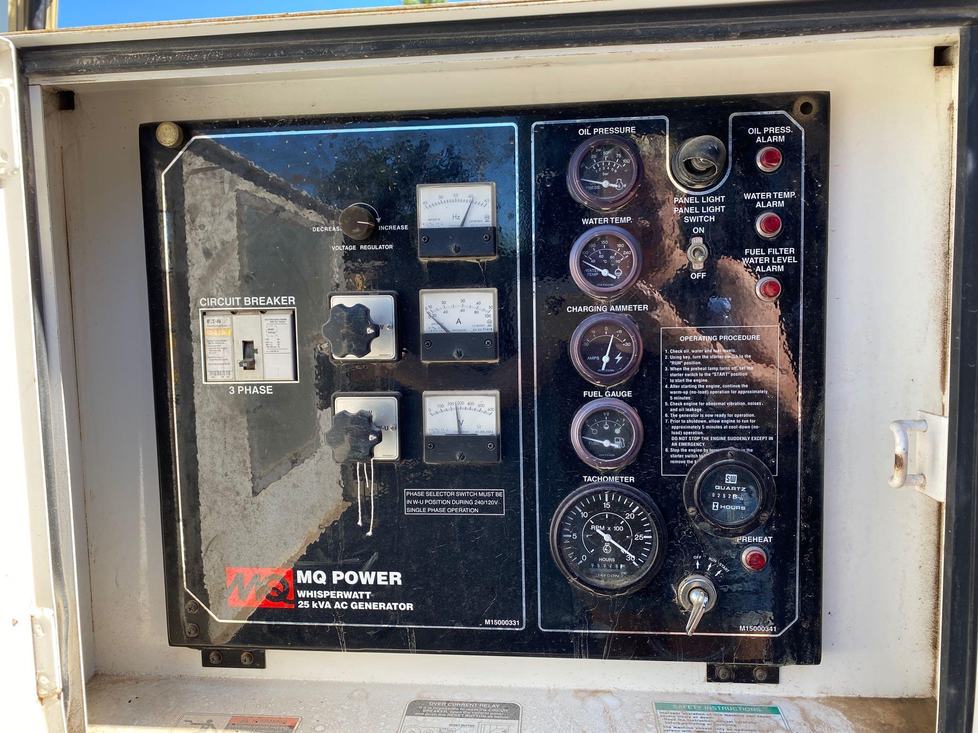 2011/2012 WHISPERWATT MQ POWER DIESEL GENERATOR, TRAILER MOUNTED, 20KW, 25KVA, RUNS AND OPERATES - Image 17 of 20