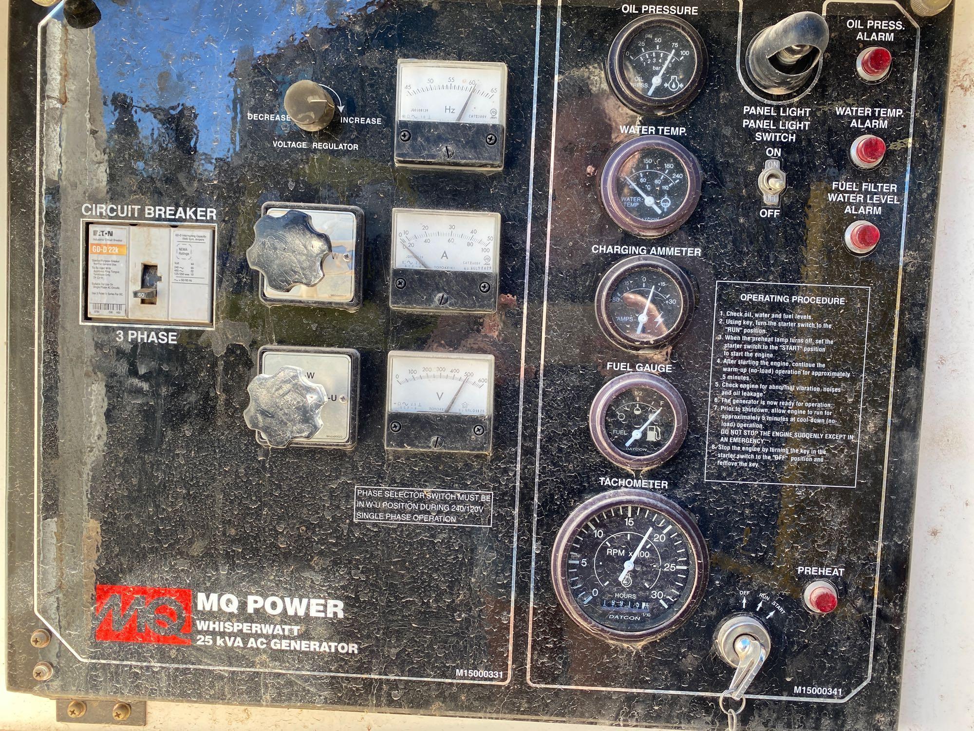 2012 WHISPERWATT MQ POWER DIESEL GENERATOR, TRAILER MOUNTED, 20KW, 25KVA, RUNS AND OPERATES - Image 8 of 10