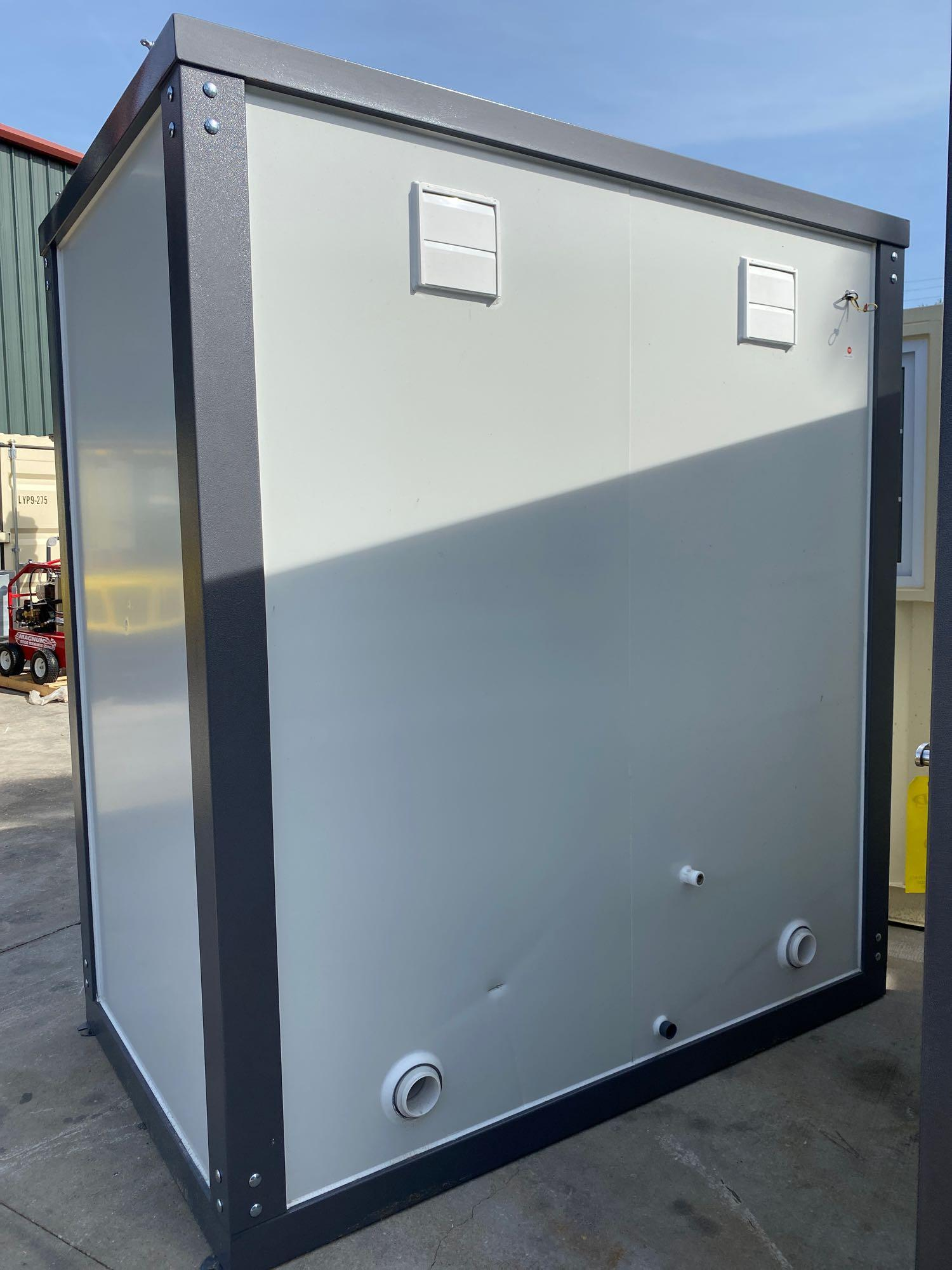 """NEW/UNUSED PORTABLE BATHROOM UNIT, TWO STALLS, PLUMBING AND ELECTRIC HOOKUP, 81"""" WIDE 90"""" TALL 51"""" D - Image 4 of 6"""