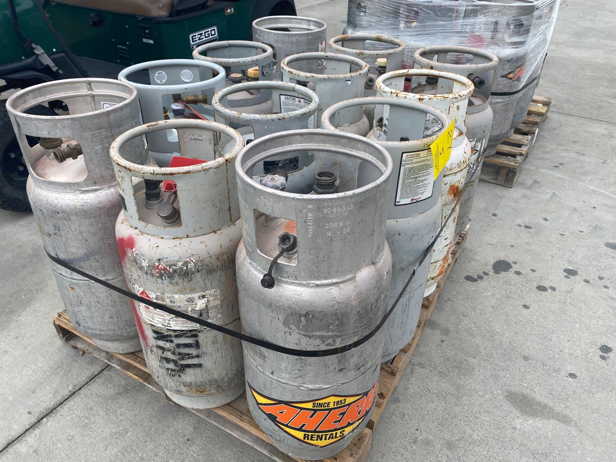 PALLET OF PROPANE TANKS, ALUMINUM AND STEEL