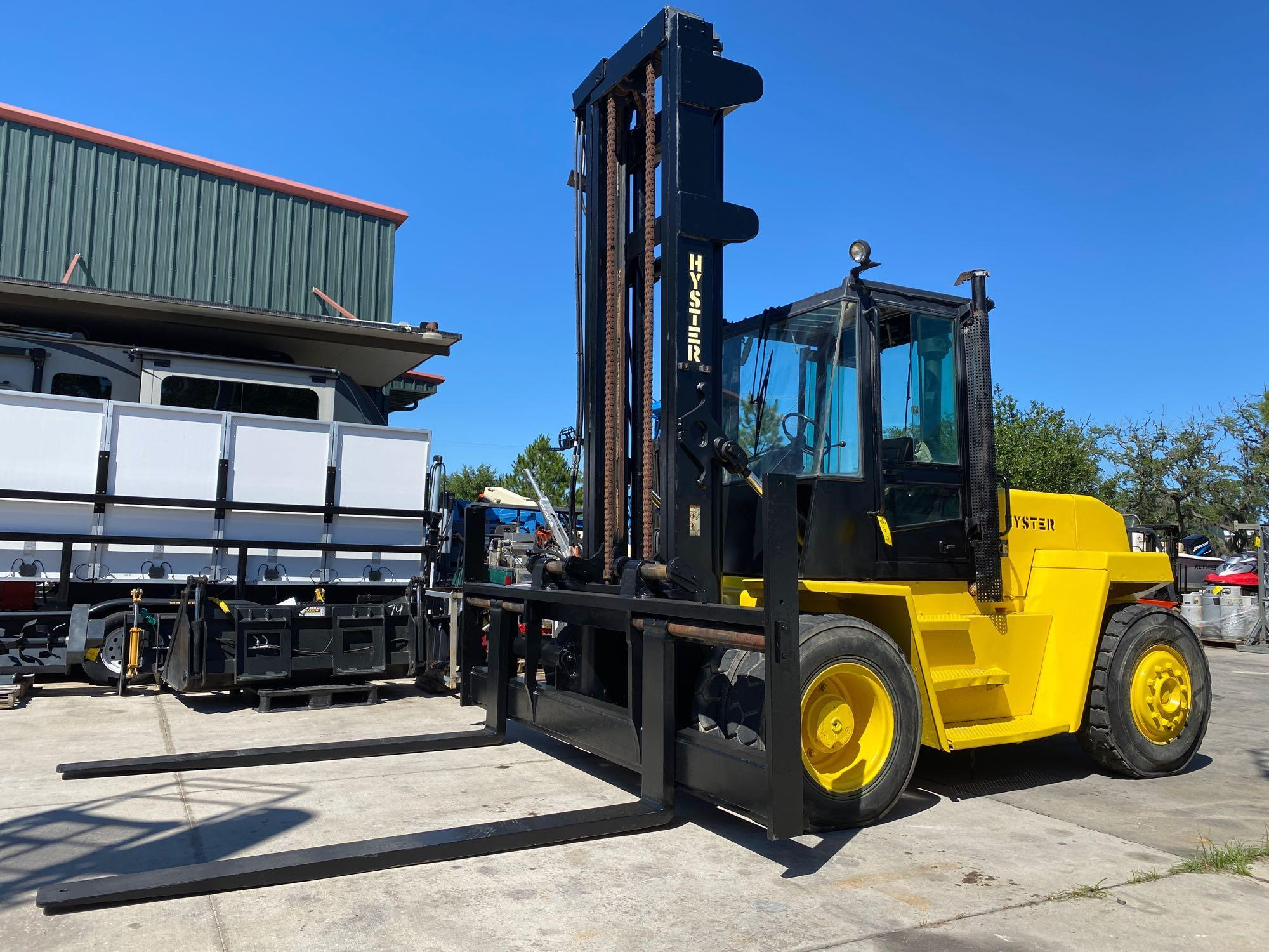 """HYSTER DIESEL FORKLIFT MODEL H190XL2, APPROX. 19,000 LB CAPACITY, 212.6"""" HEIGHT CAPACITY, RUNS AND O"""