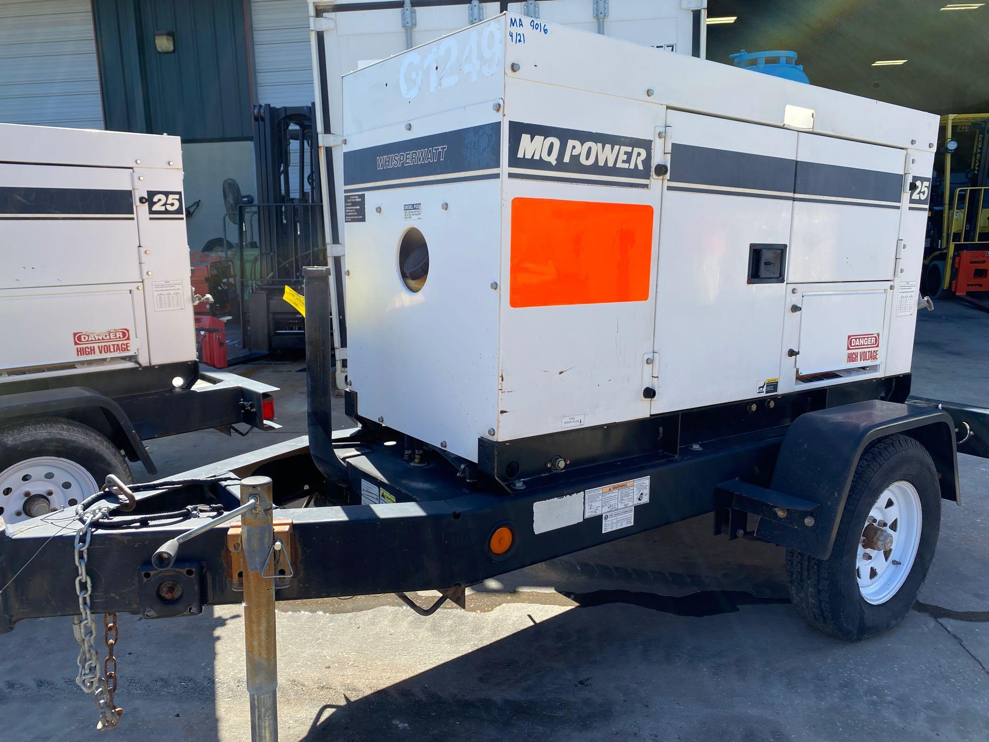 2012 WHISPERWATT MQ POWER DIESEL GENERATOR, TRAILER MOUNTED, 20KW, 25KVA, RUNS AND OPERATES - Image 6 of 10
