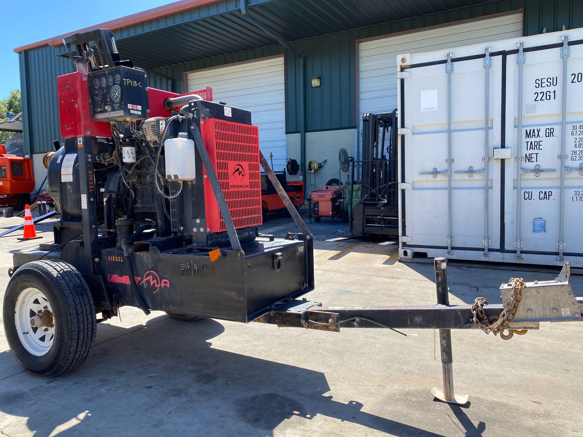 TRAILER MOUNTED MAGNUM 4 INCH DIESEL PUMP, RUNS AND OPERATES - Image 3 of 9