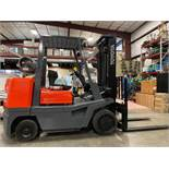 "TOYOTA FGC35 LP FORKLIFT, 8,000 LB CAPACITY, 132"" HEIGHT CAPACITY, TILT, RUNS AND OPERATES"