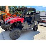 YAMAHA UTV WITH TOOL/STORAGE BIN, HAS RUST ON UNDER CARRIAGE AND FRAME, RUNS AND OPERATES