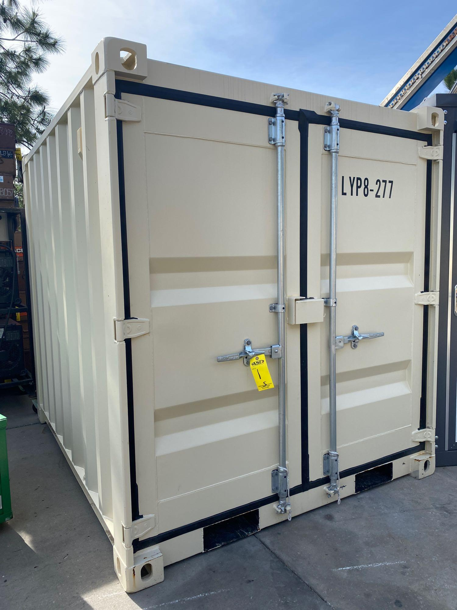 """UNUSED PORTABLE OFFICE/STORAGE CONTAINER WITH WINDOW AND SIDE DOOR, APPROX 77""""w 84""""t 98"""" deep"""